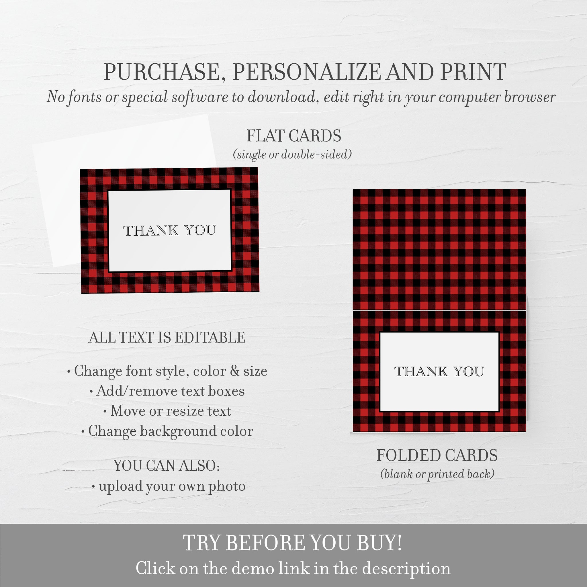 Buffalo Plaid Thank You Card Printable, Lumberjack Baby Shower Thank You Card, Folded Flat 5X3.5, Editable Template DIGITAL DOWNLOAD - BP100 - @PlumPolkaDot