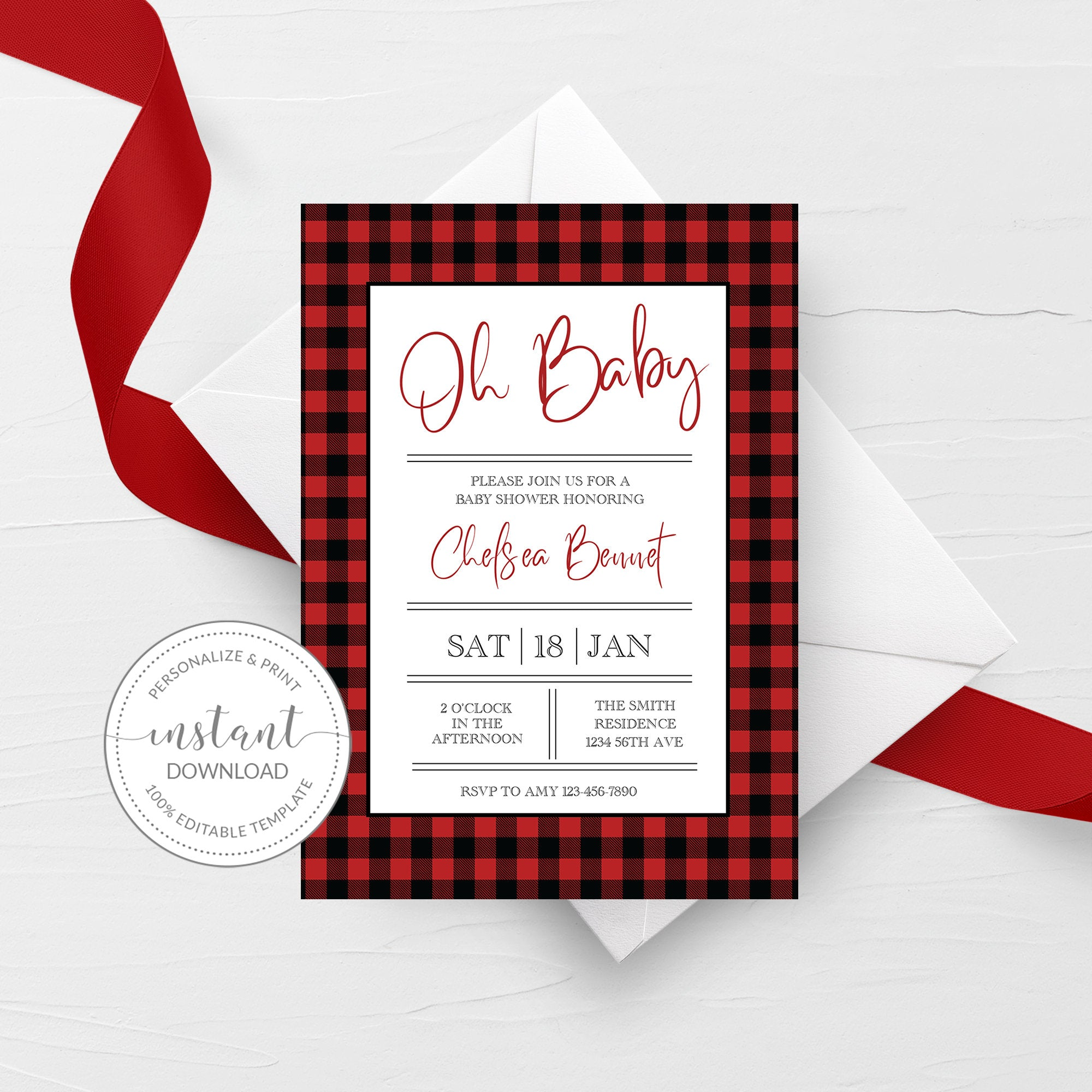 Buffalo Plaid Baby Shower Invitation Template, Lumberjack Baby Shower Invite, Editable DIGITAL DOWNLOAD - BP100 - @PlumPolkaDot