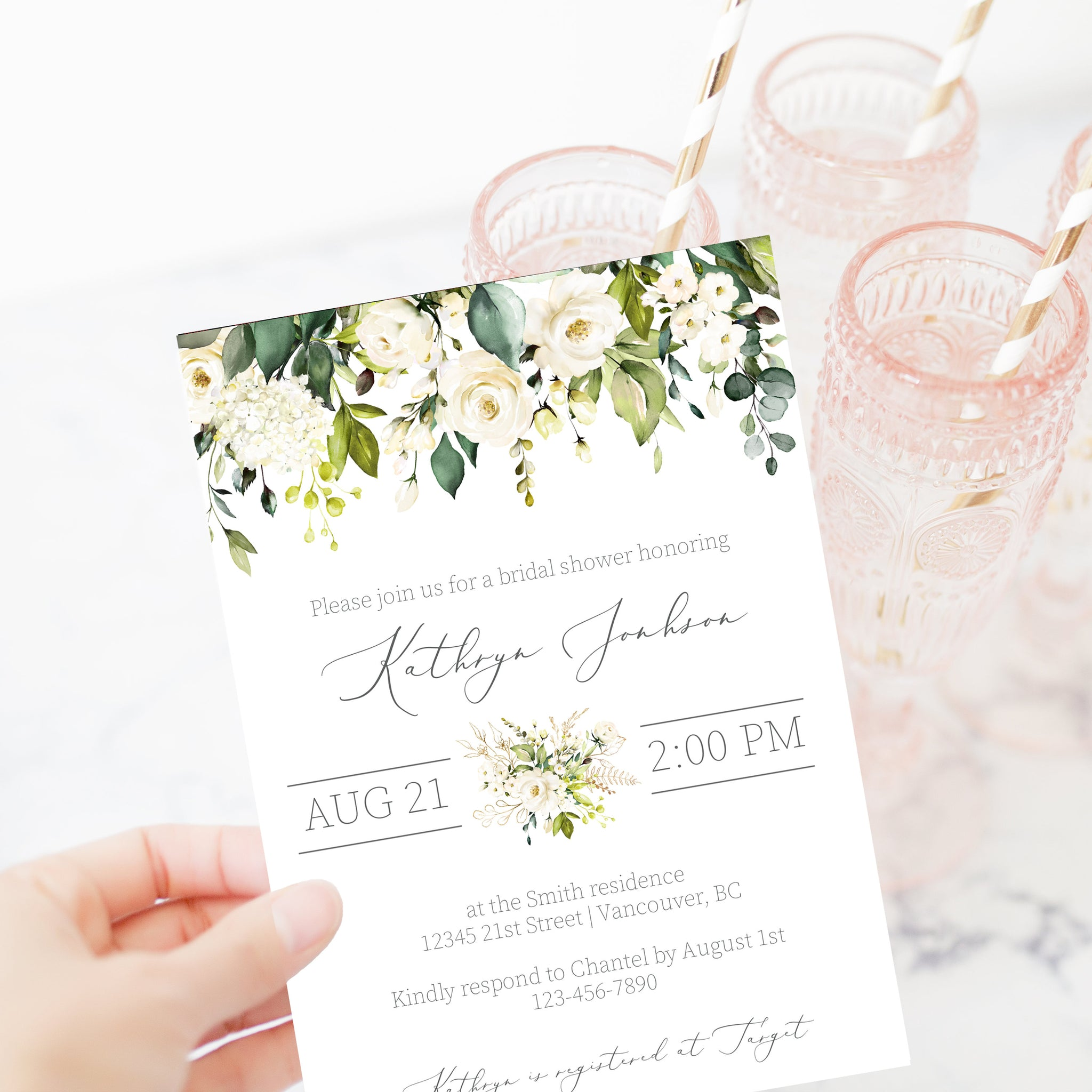 White Floral Greenery Bridal Shower Invitation Template, Printable Bridal Shower Invite, Editable DIGITAL DOWNLOAD - WRG100 - @PlumPolkaDot