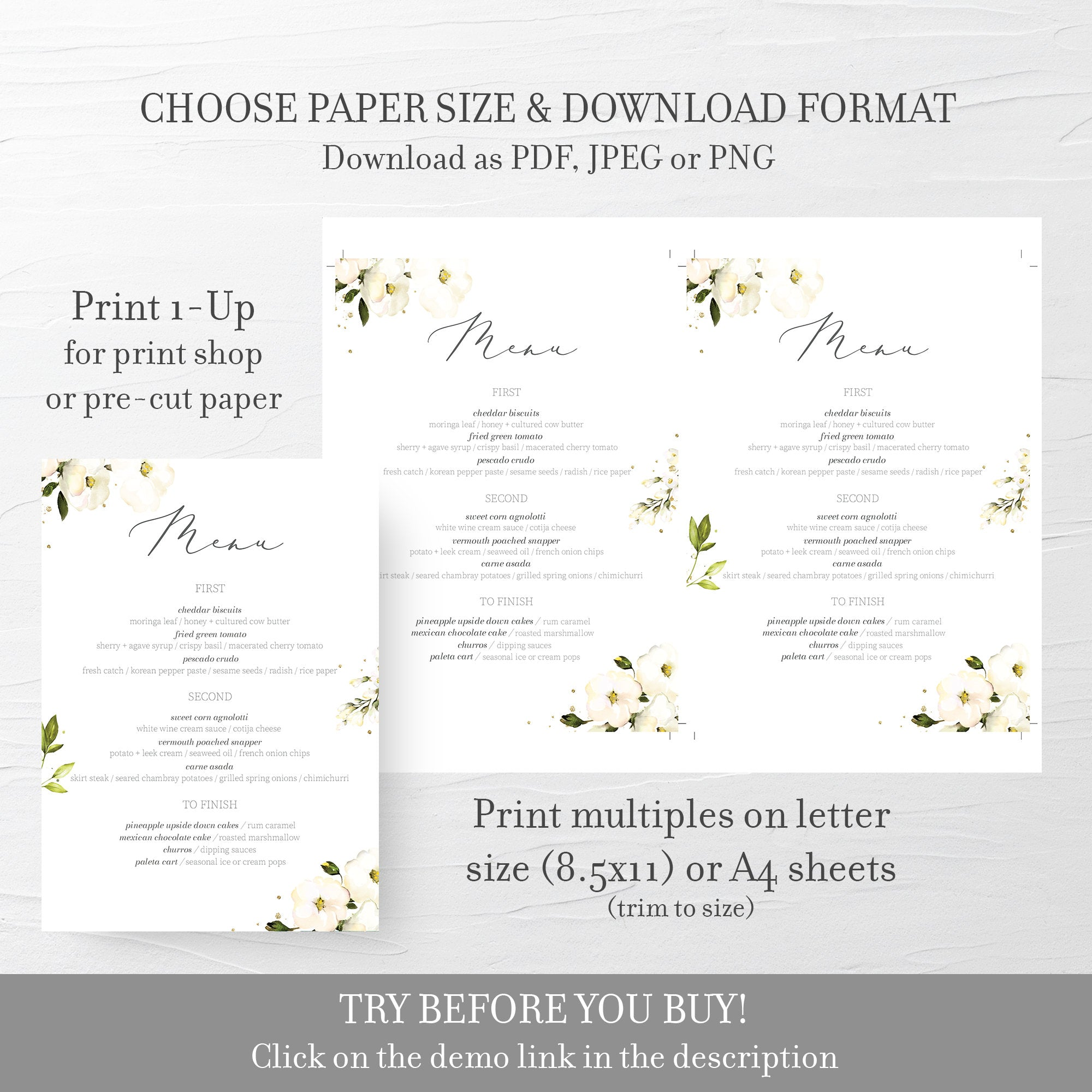 White Floral Greenery Wedding Menu Template, Editable Menu Cards, Printable Menu, DIGITAL DOWNLOAD 4x9 & 5x7 - WRG100 - @PlumPolkaDot