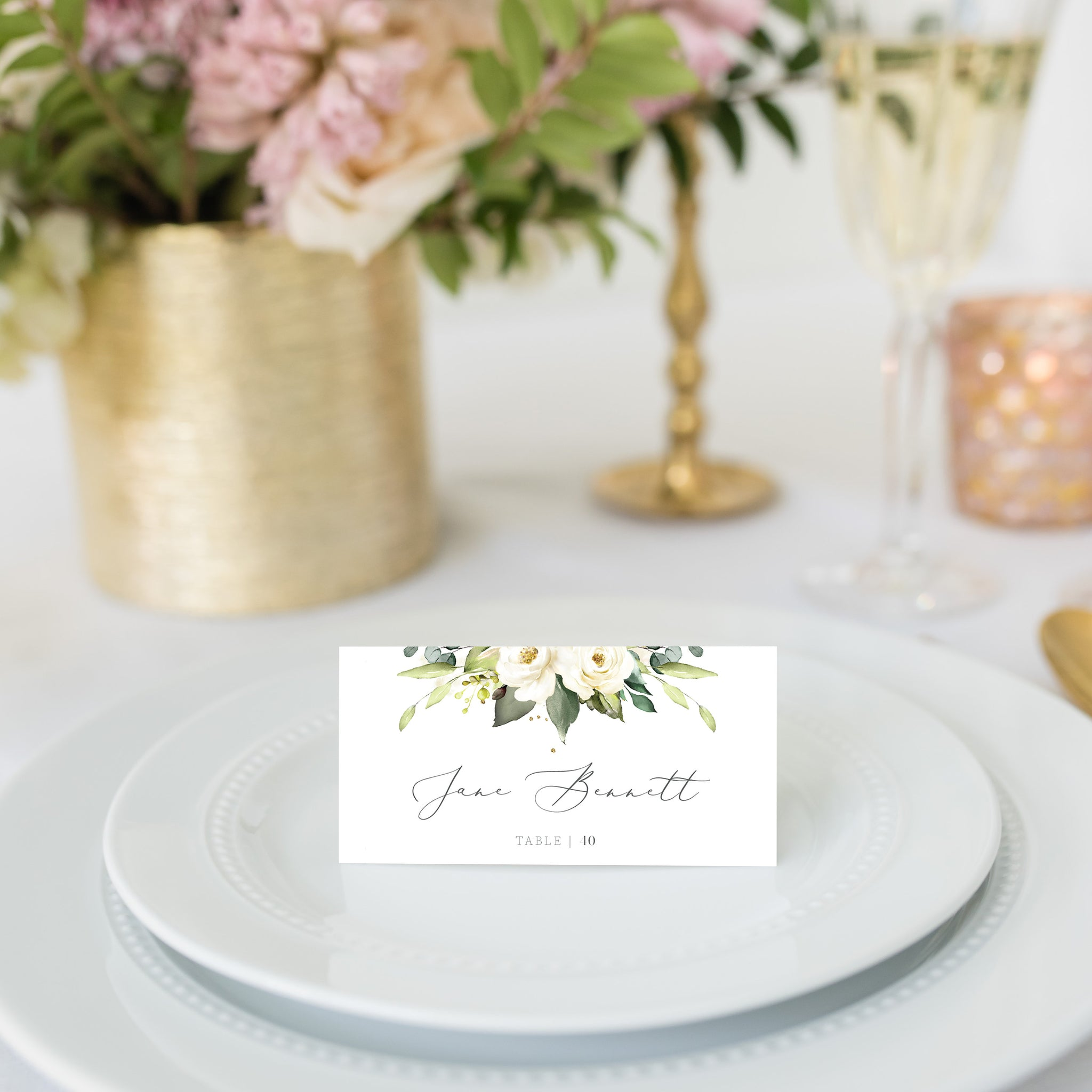 White Floral Greenery Wedding Place Card Template, Personalized Wedding Name Cards, Printable Place Cards, DIGITAL DOWNLOAD - WRG100 - @PlumPolkaDot