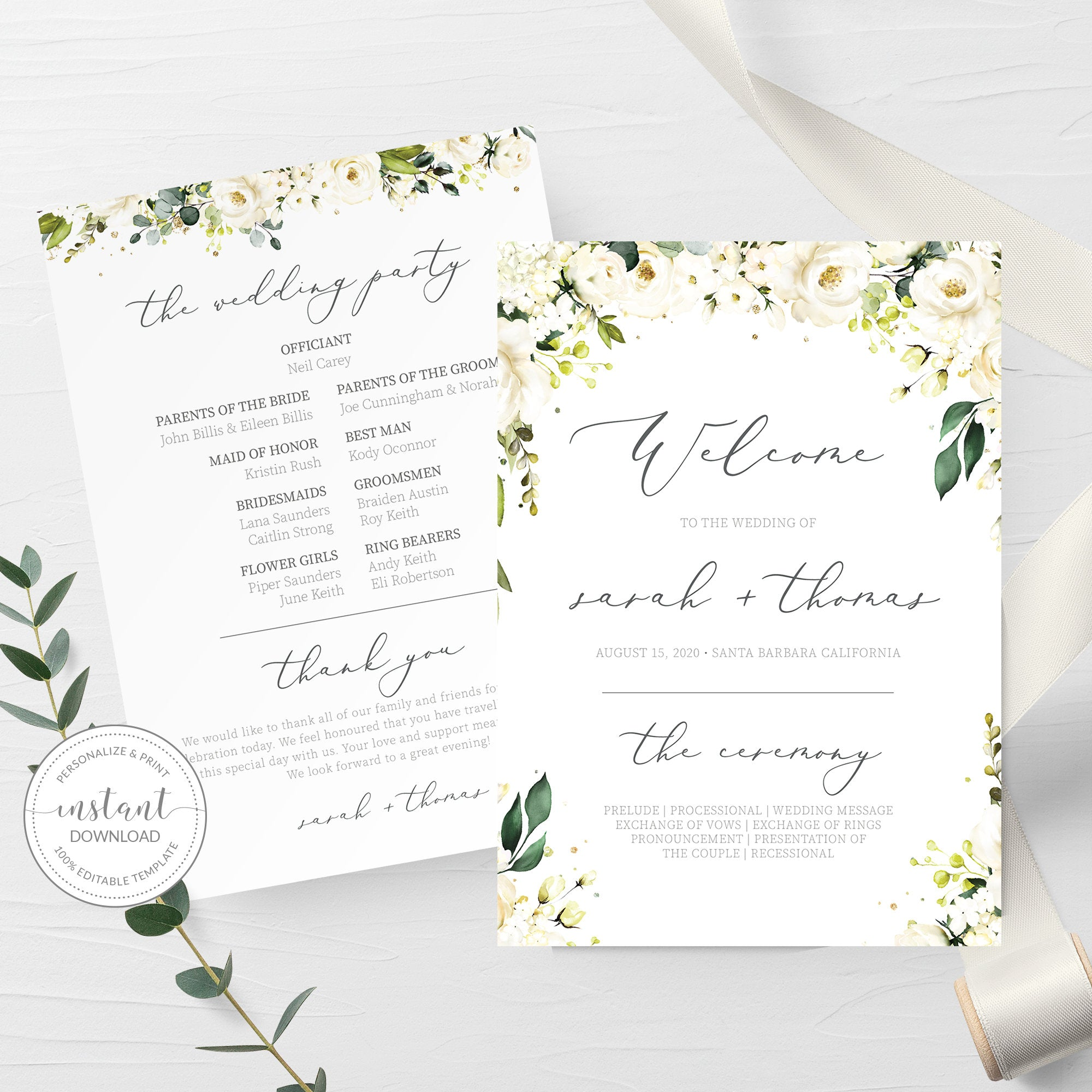 White Floral Greenery Wedding Program Template Wedding Ceremony Programs Editable Wedding Program 5x7 Digital Download Wrg100