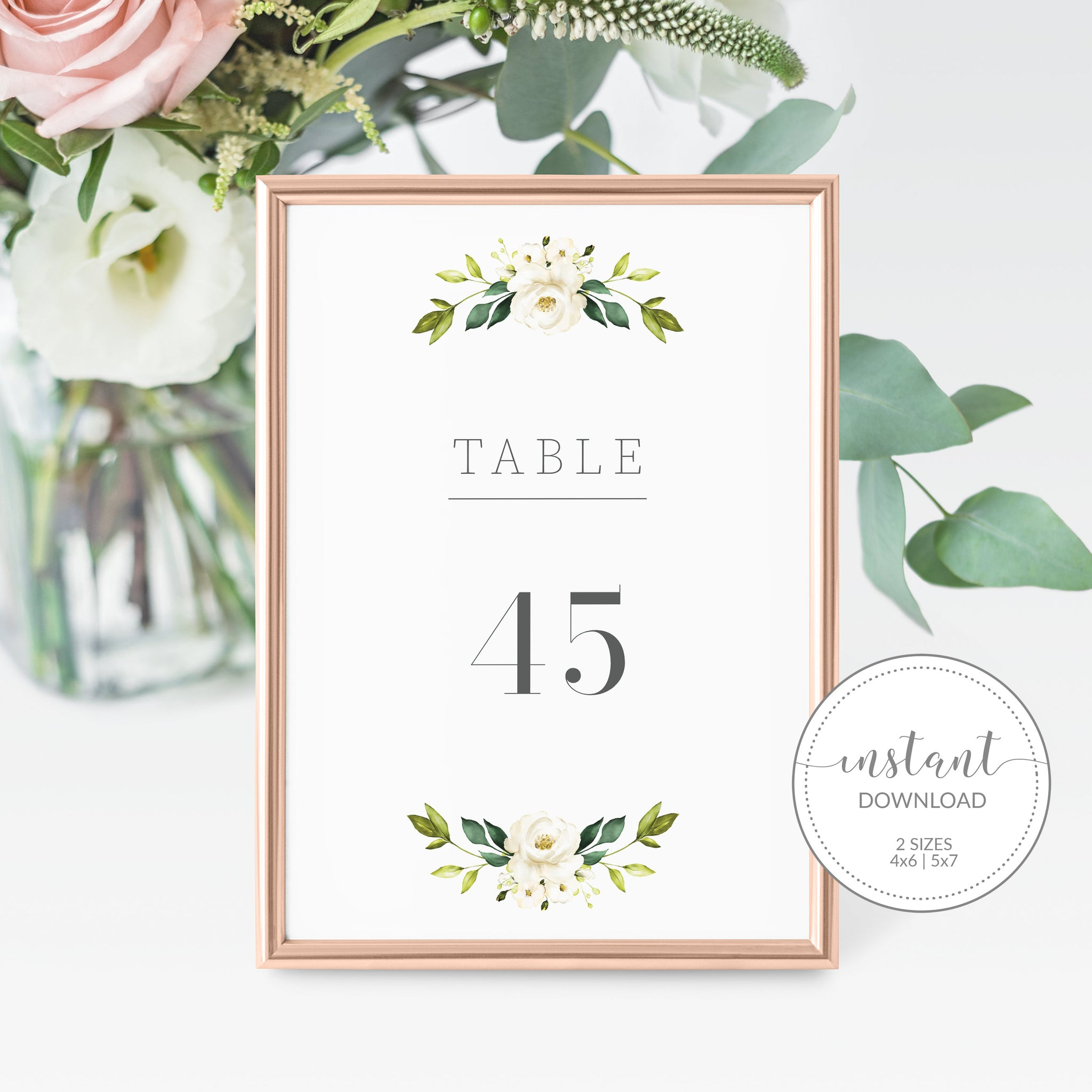 White Floral Greenery Wedding Table Numbers 1-50, Table Number Cards Wedding, Table Numbers 4x6 and 5x7, Printable INSTANT DOWNLOAD - WRG100 - @PlumPolkaDot