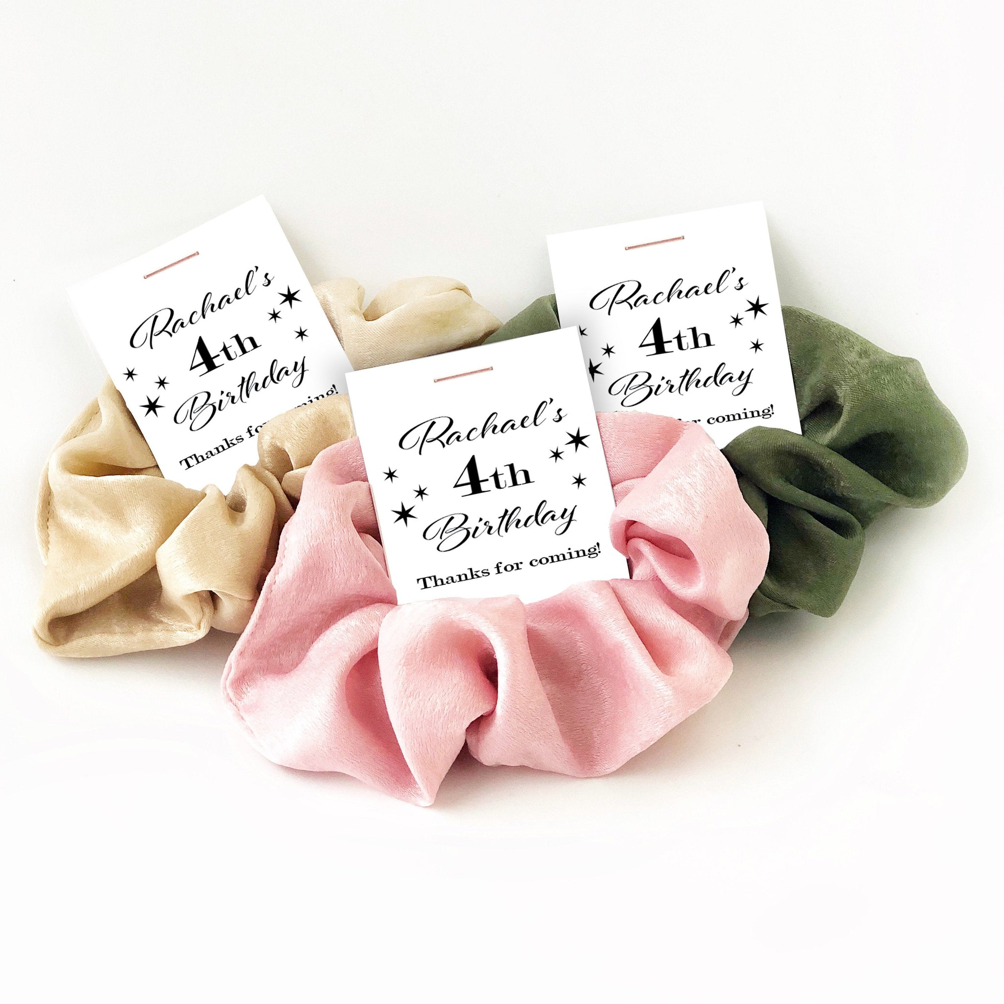 4th Birthday Party Favors, Hair Scrunchies - @PlumPolkaDot