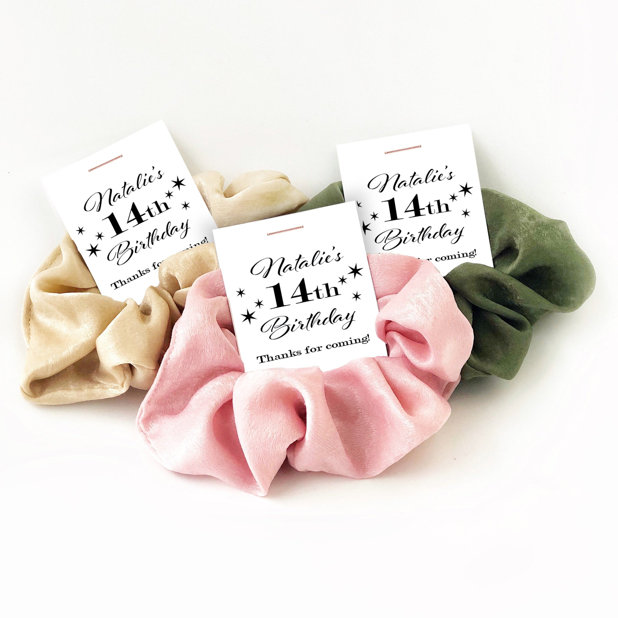 14th Birthday Party Favors, Hair Scrunchies - @PlumPolkaDot
