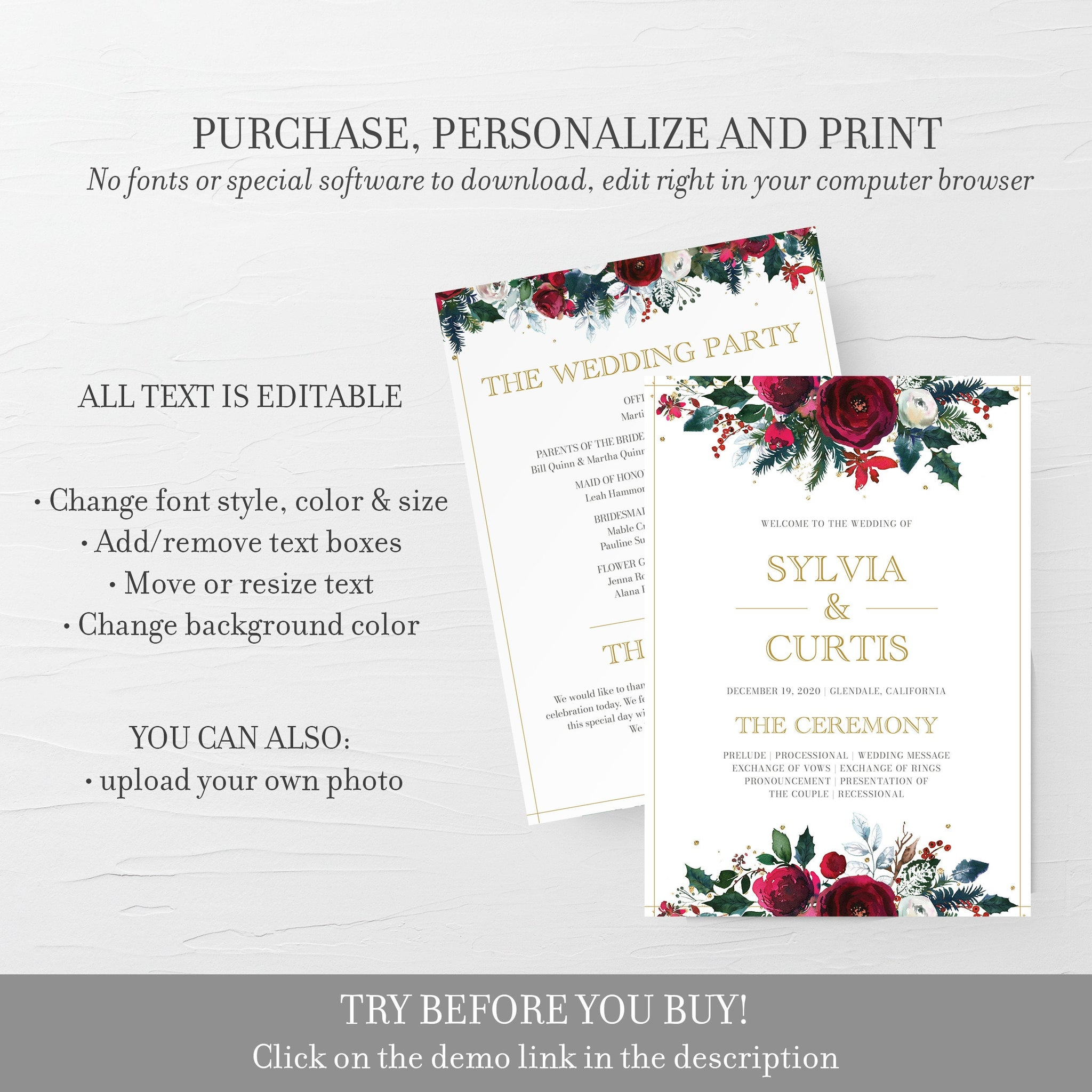 Christmas Wedding Program Template, Winter Wedding Programs Christmas, Editable Wedding Program, 5x7 DIGITAL DOWNLOAD - CG100 - @PlumPolkaDot