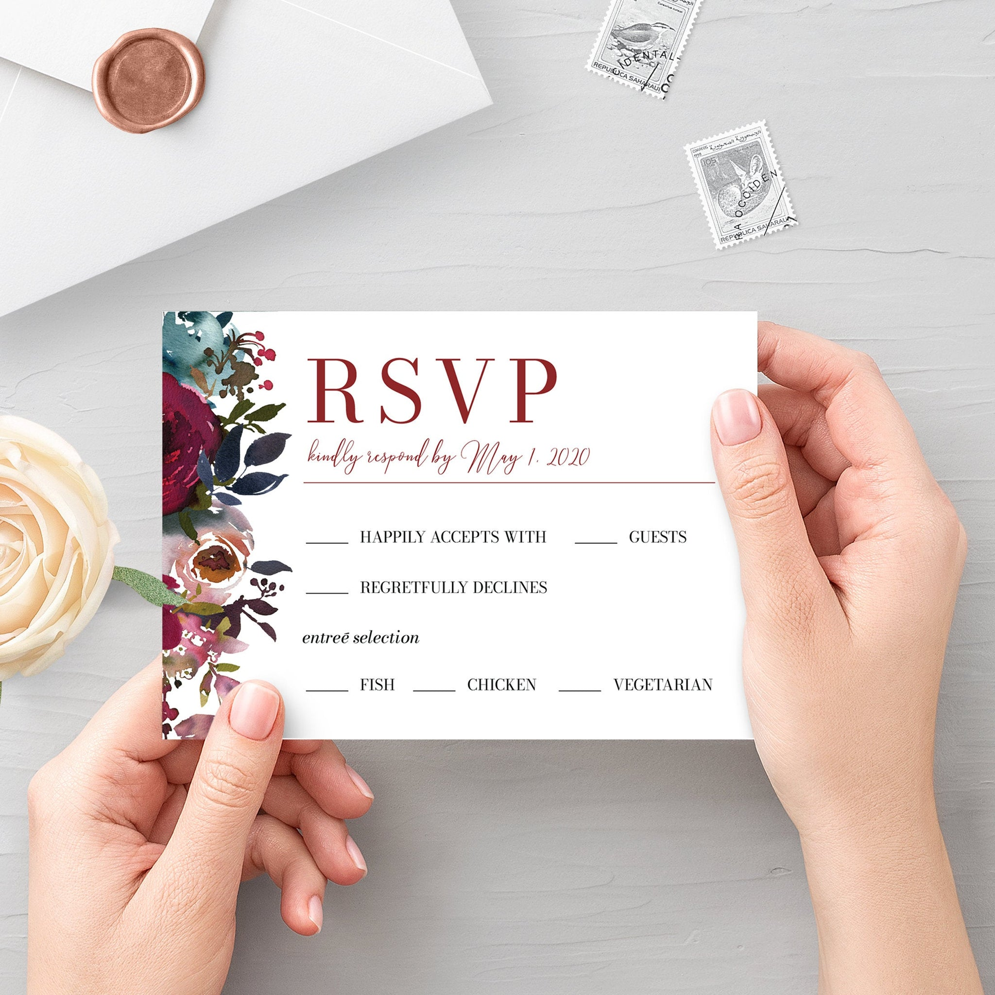 Burgundy and Navy Wedding Invitation Template, Printable Wedding Invitation Suite, Editable Wedding Invitation, DIGITAL DOWNLOAD - BB100 - @PlumPolkaDot