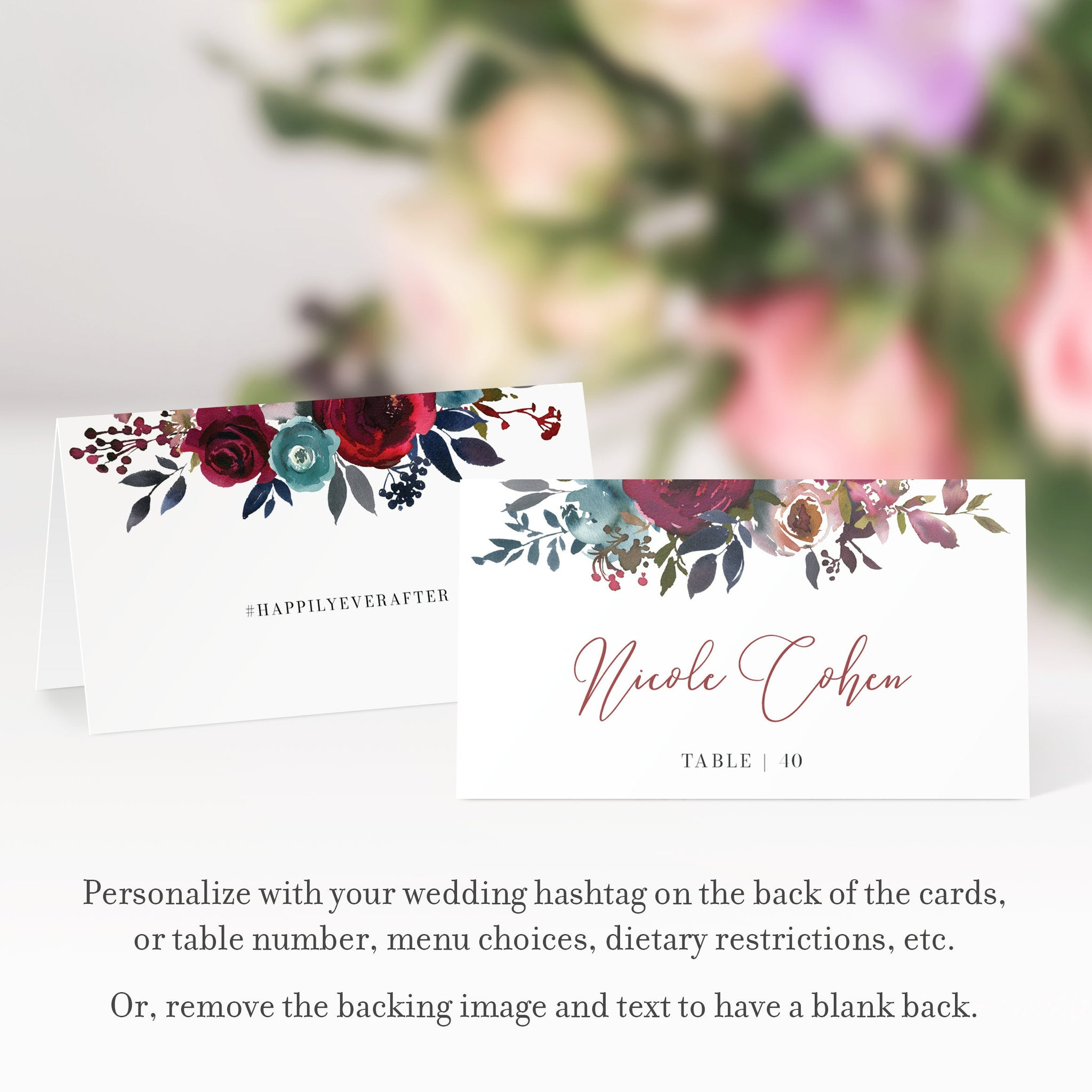 Burgundy and Navy Wedding Place Card Template, Personalized Wedding Name Cards, Printable Place Cards, DIGITAL DOWNLOAD - BB100