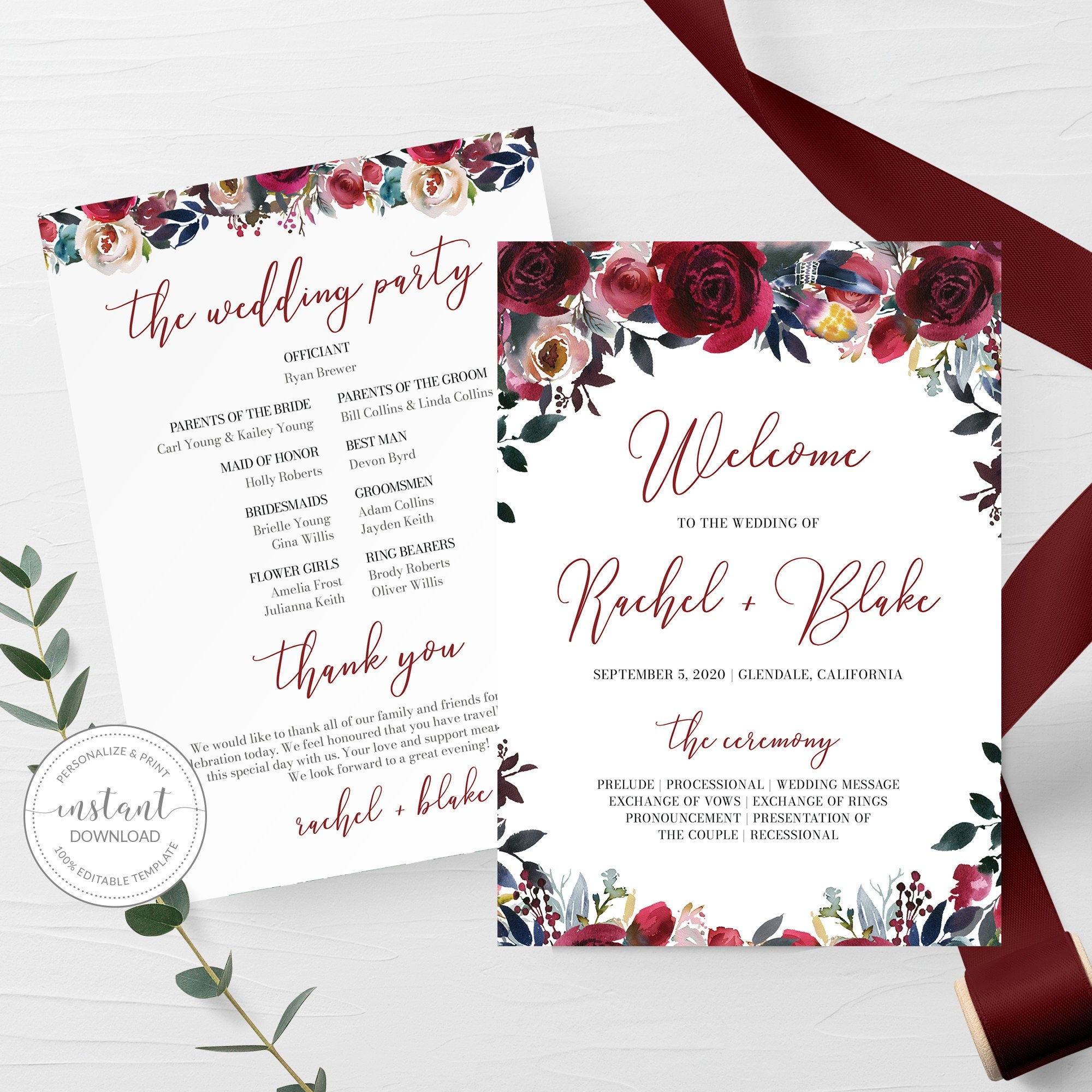 Burgundy and Navy Wedding Ceremony Program Template, Winter Wedding Programs Burgundy Floral, 5x7 DIGITAL DOWNLOAD - BB100 - @PlumPolkaDot