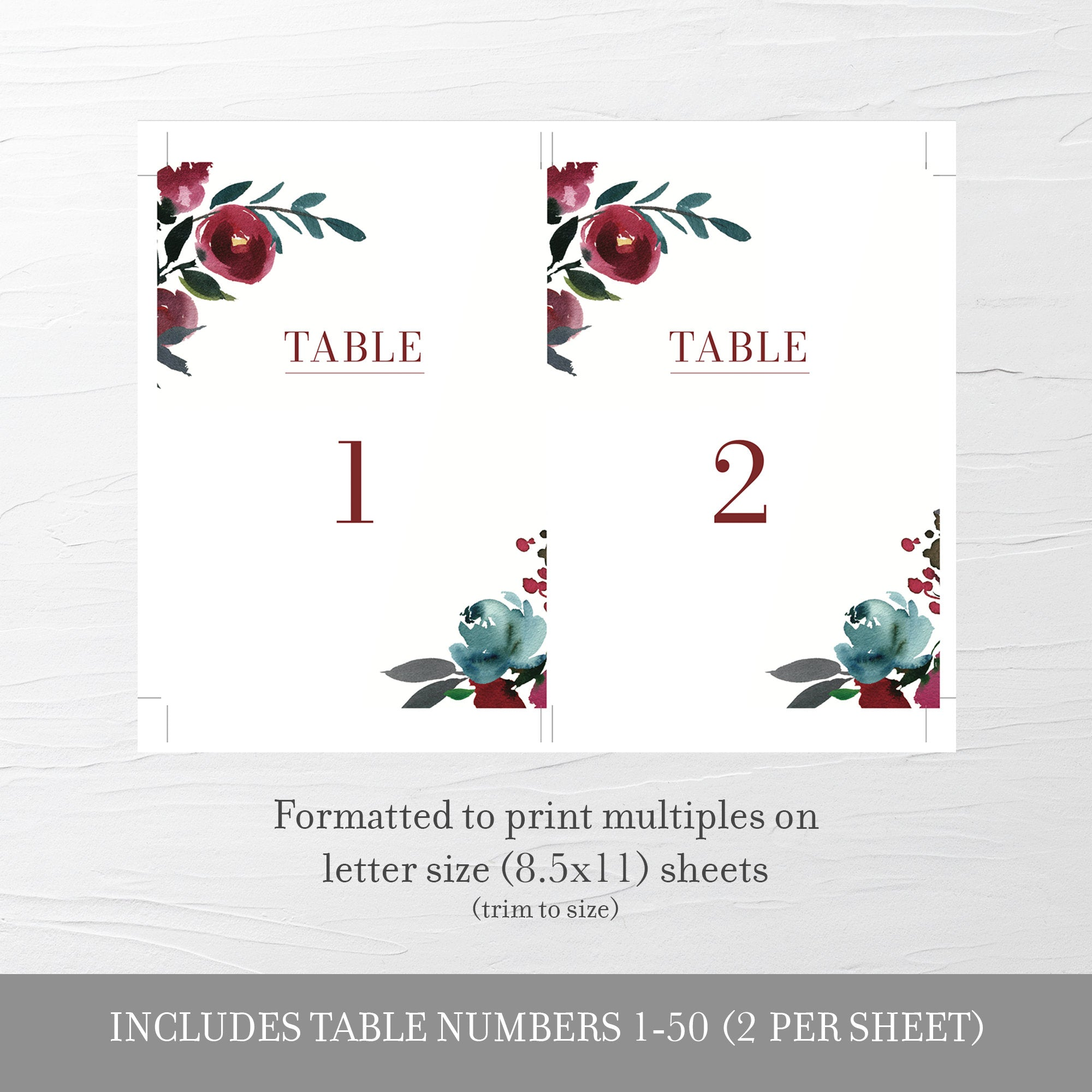 Burgundy and Navy Wedding Table Numbers 1-50, Table Number Cards Wedding, Table Numbers 4x6 and 5x7, Printable INSTANT DOWNLOAD - BB100 - @PlumPolkaDot