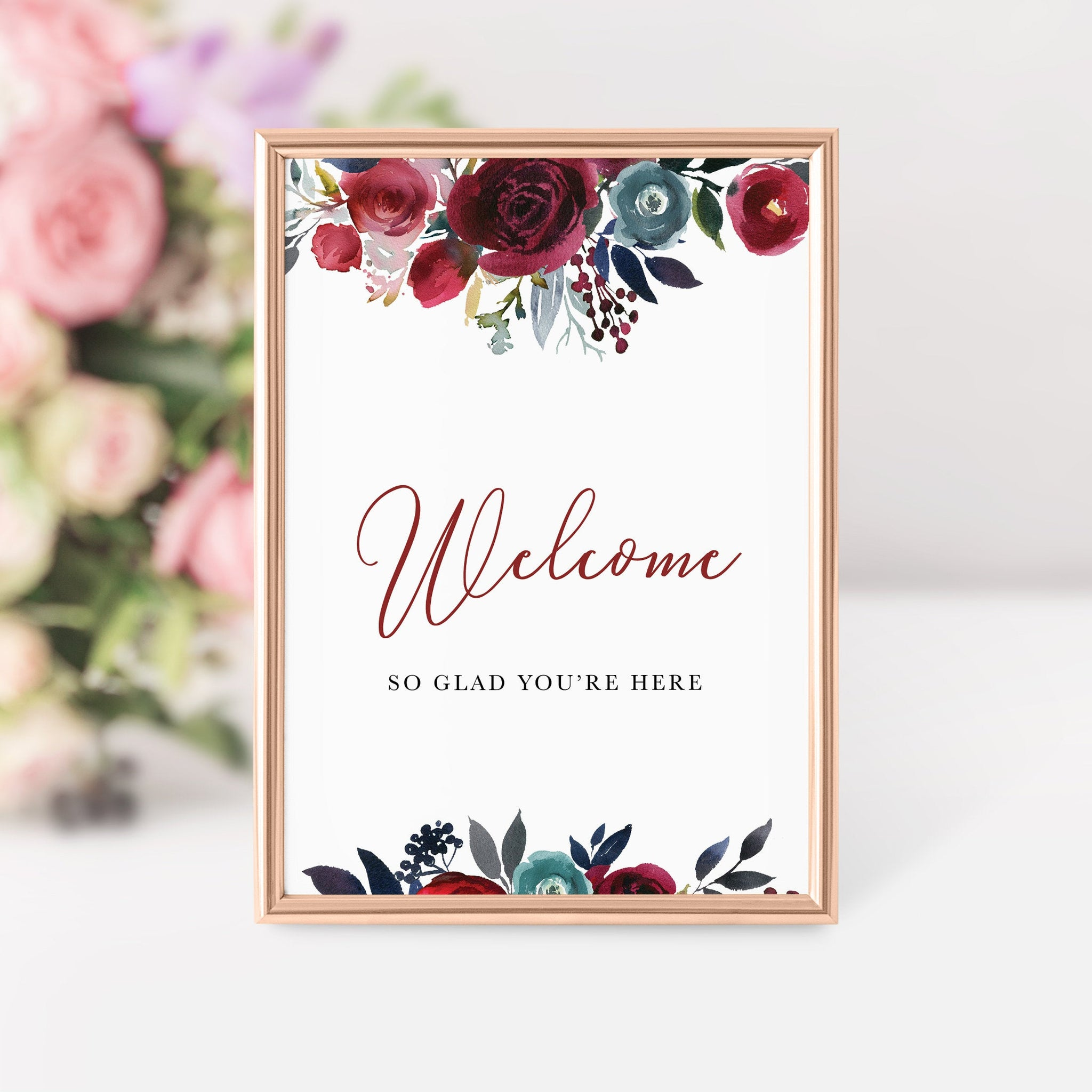 Burgundy and Navy Bridal Shower Welcome Sign Printable, Burgundy Bridal Shower Decorations, INSTANT DOWNLOAD - BB100 - @PlumPolkaDot