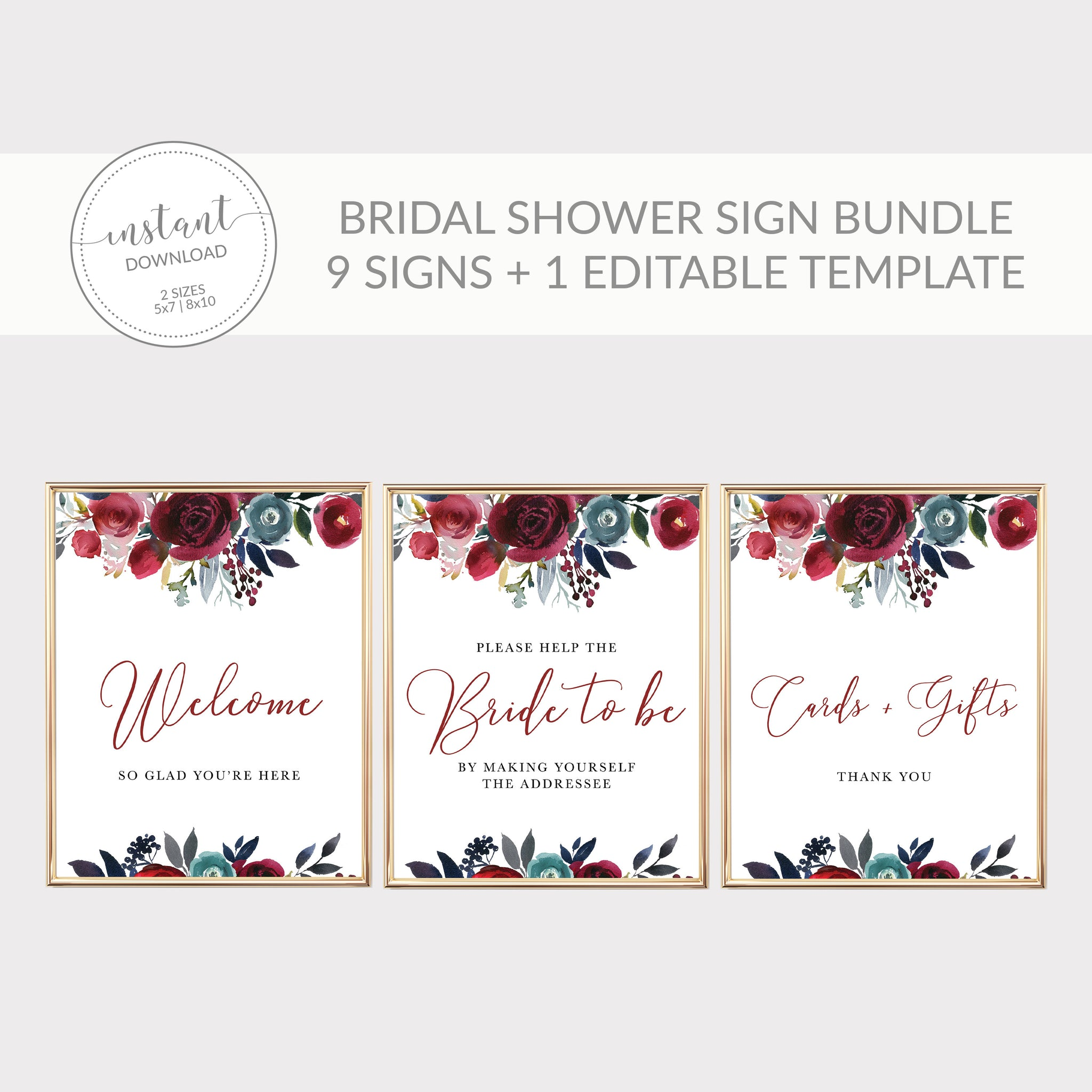 Burgundy and Navy Bridal Shower Decorations, Burgundy Bridal Shower Sign Bundle, Editable Bridal Shower Template, DIGITAL DOWNLOAD - BB100 - @PlumPolkaDot