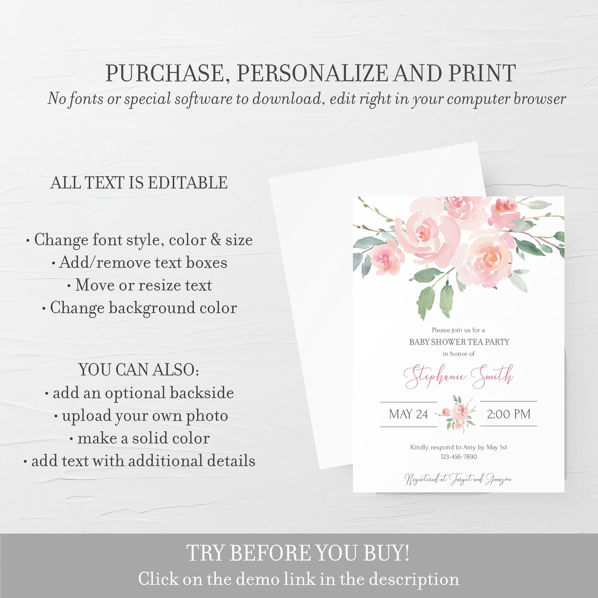 Tea Party Baby Shower Invitation Template, Pink Floral Baby Shower Invite Printable, Editable DIGITAL DOWNLOAD - FR100 - @PlumPolkaDot