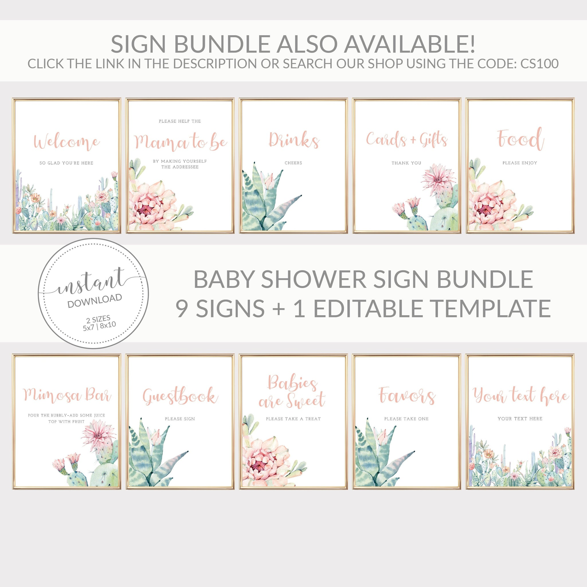 Cactus Baby Shower Invitation, Girl Baby Shower Invitation Template, Editable DIGITAL DOWNLOAD - CS100