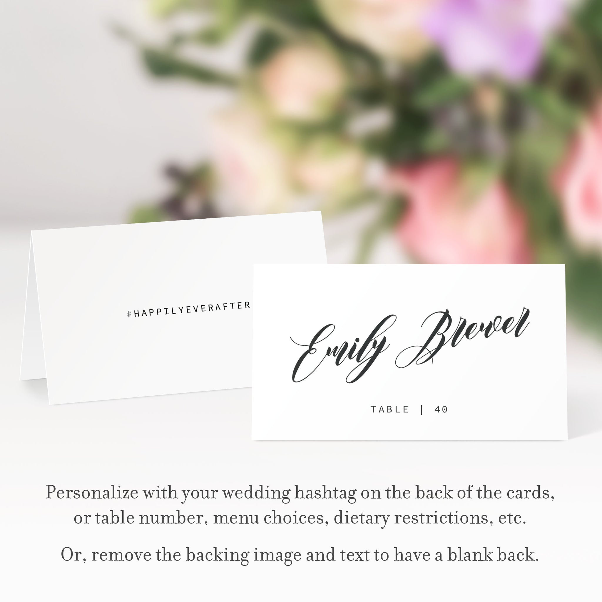 Black Script Wedding Place Cards Template, Personalized Wedding Name Cards, Printable Place Cards, DIGITAL DOWNLOAD - SFB100 - @PlumPolkaDot