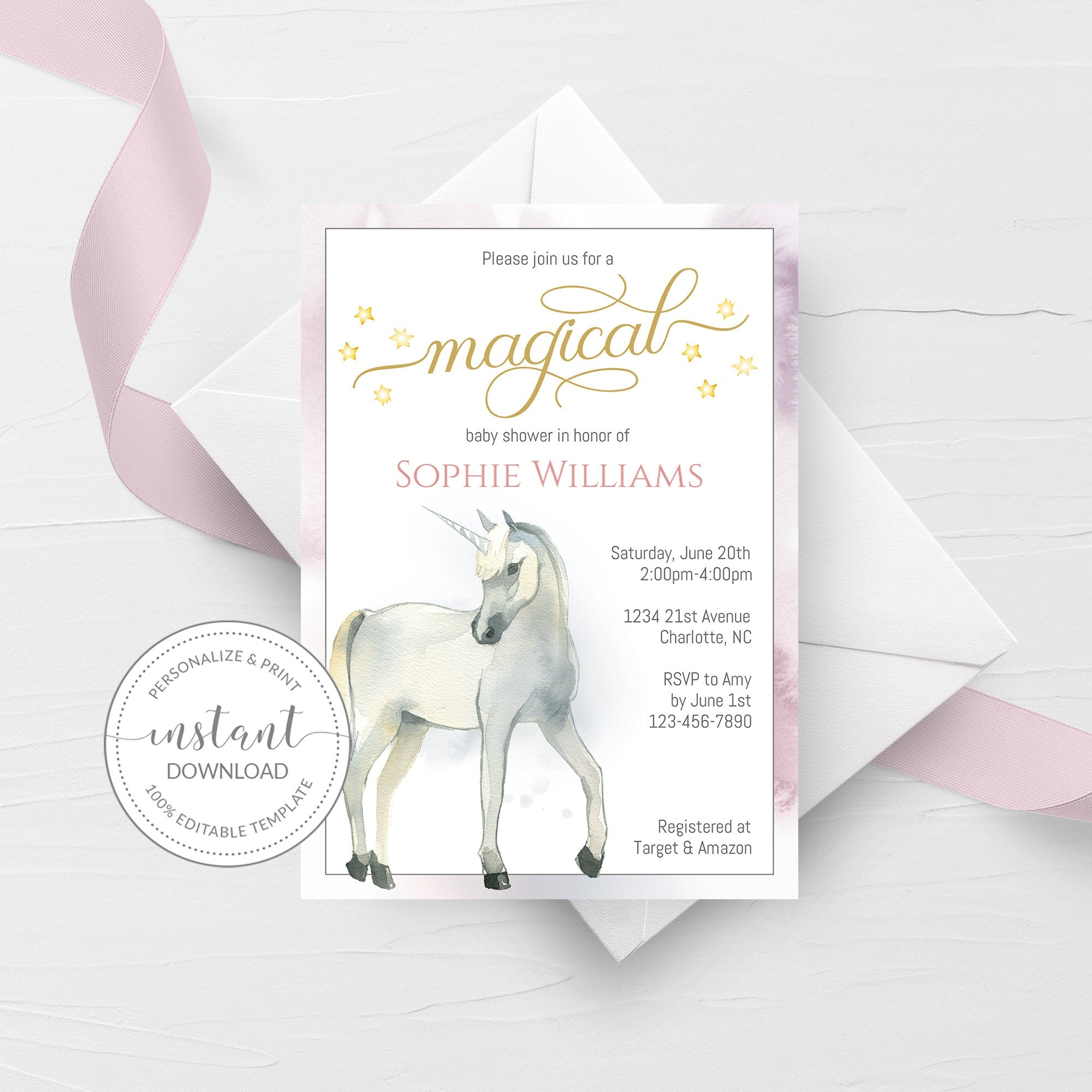 Unicorn Baby Shower Invitation Template, Unicorn Baby Shower Invite Printable, Editable DIGITAL DOWNLOAD - D200