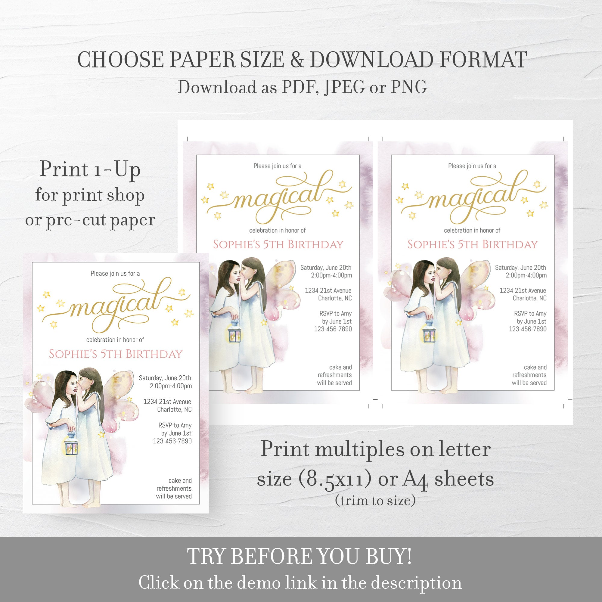 Fairy Theme Party Invitation Template, Fairy Birthday Party Invitation, Editable DIGITAL DOWNLOAD - D300 - @PlumPolkaDot