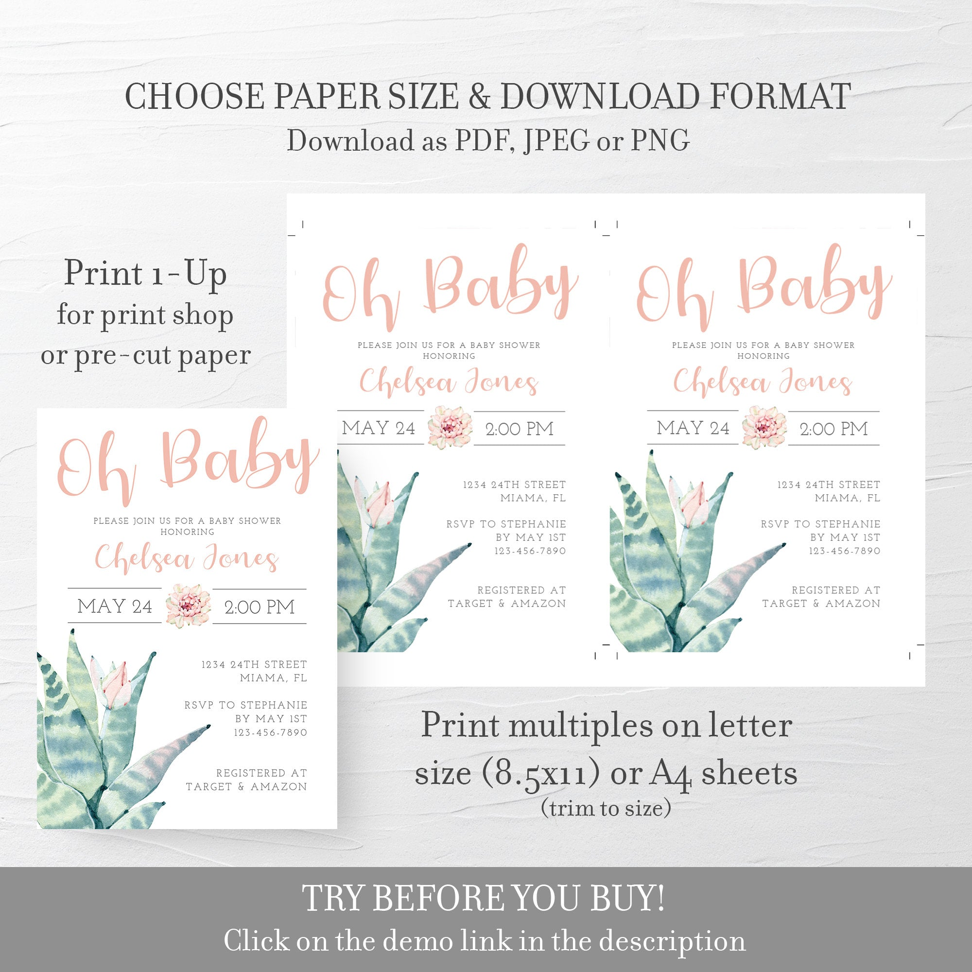 Succulent Baby Shower Invitation, Girl Baby Shower Invitation Template, Editable DIGITAL DOWNLOAD - CS100 - @PlumPolkaDot