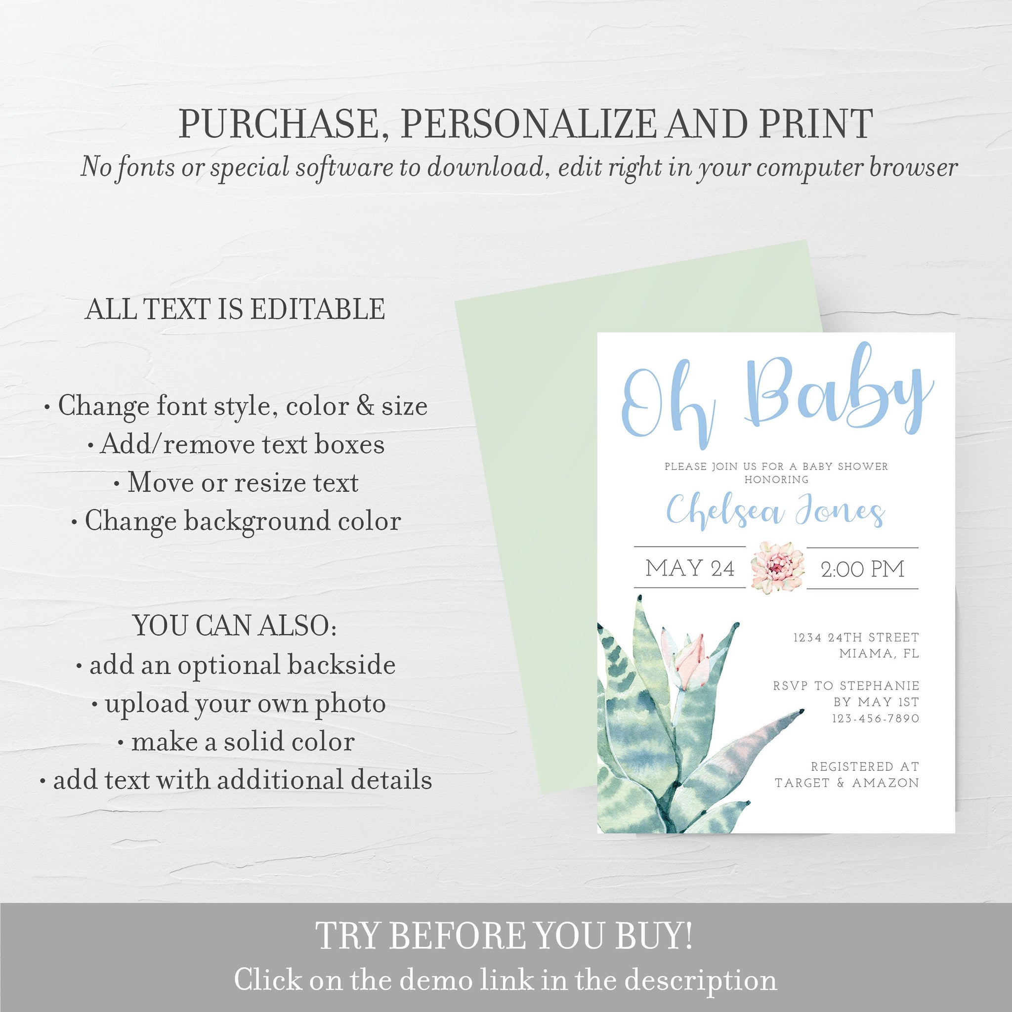Succulent Baby Shower Invitation, Boy Baby Shower Invitation Template, Editable DIGITAL DOWNLOAD - CS100