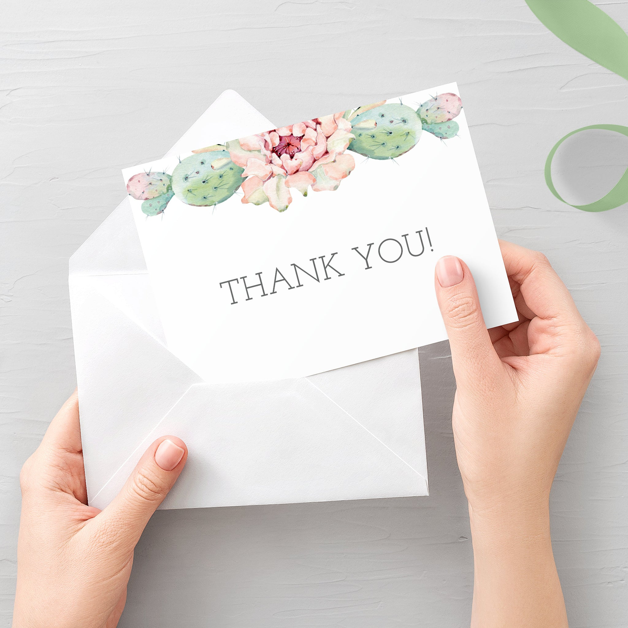 Cactus Thank You Card Printable, Succulent Thank You Note, Folded and Flat Cards 5X3.5, Editable Template DIGITAL DOWNLOAD - CS100 - @PlumPolkaDot