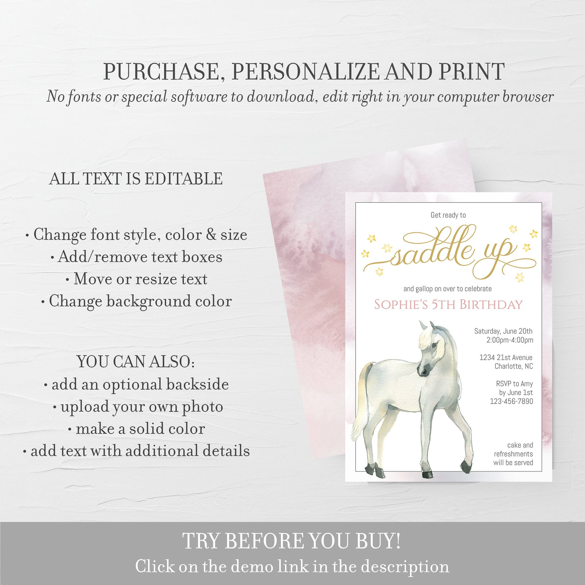 Horse Birthday Invitation Template, Horse Party Invitation Printable, Editable DIGITAL DOWNLOAD - D400
