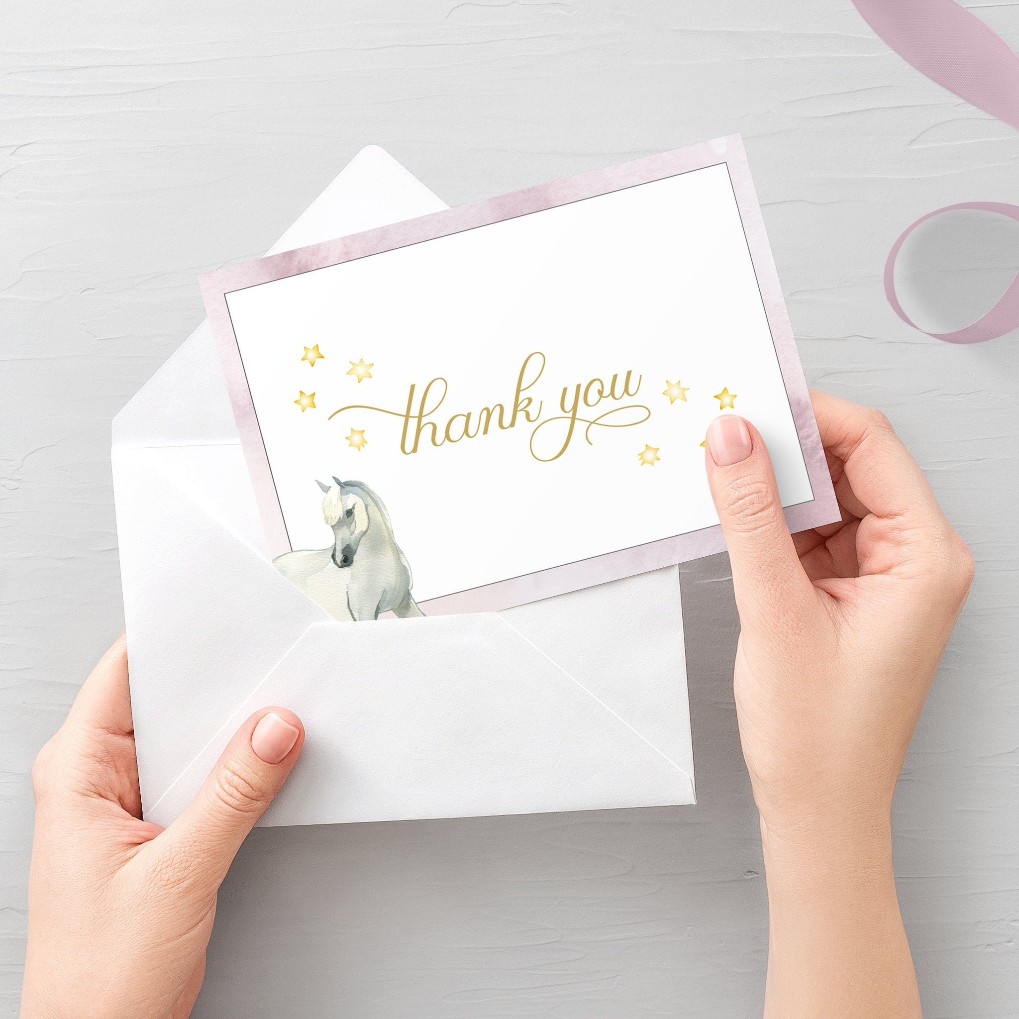 Horse Thank You Card Printable, Horse Thank You Note, Folded and Flat Cards 5X3.5, Editable Template DIGITAL DOWNLOAD - CS100 - @PlumPolkaDot