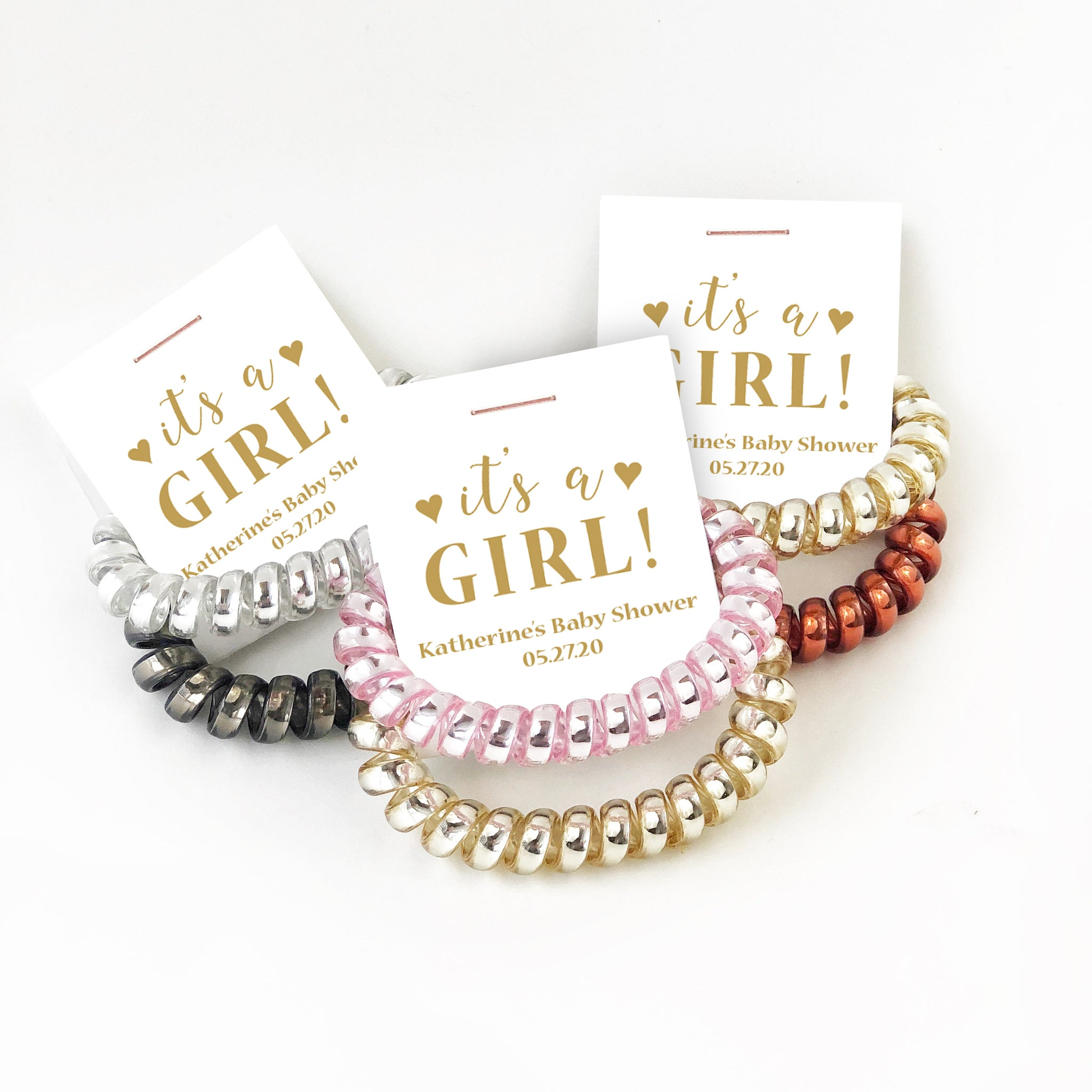 Gold Baby Shower Favors Girl, Spiral Hair Ties - @PlumPolkaDot