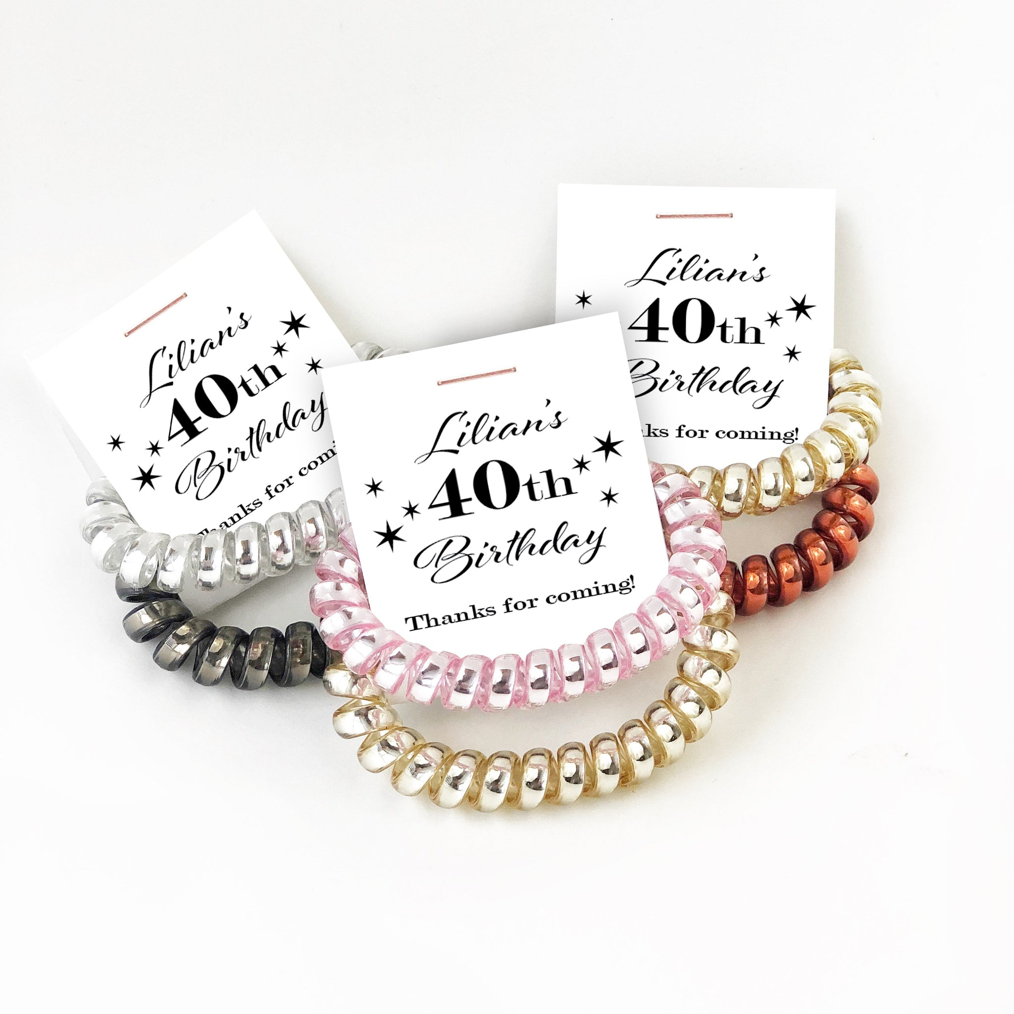 40th Birthday Party Favors, Spiral Hair Ties - @PlumPolkaDot