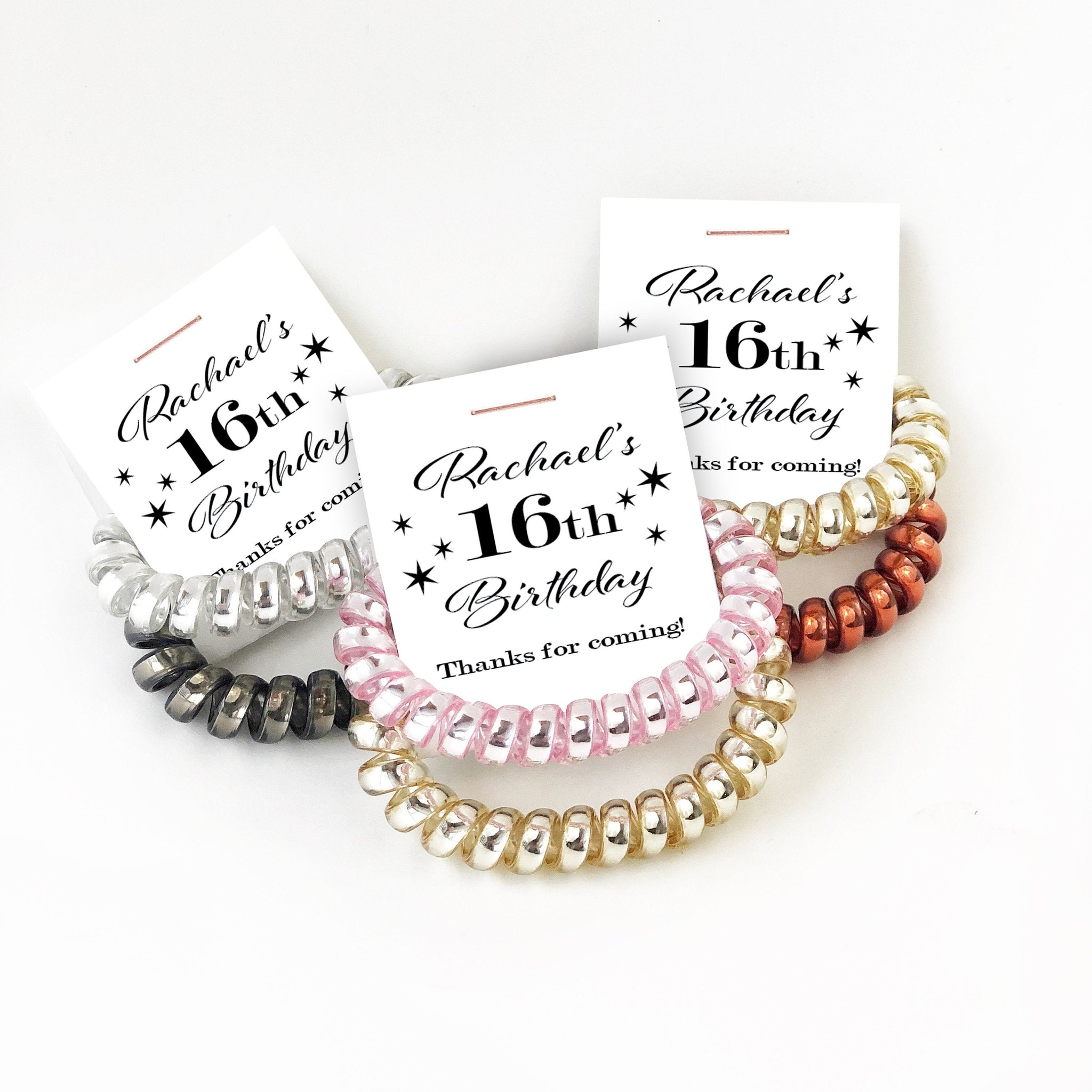 16th Birthday Party Favors, Spiral Hair Ties - @PlumPolkaDot