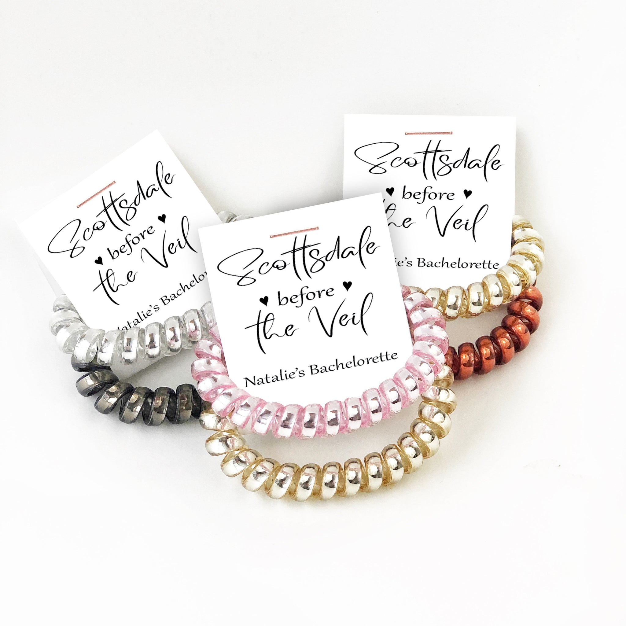 Scottsdale Bachelorette Party Favors, Spiral Hair Tie Favors, Scottsdale Before The Veil Bachelorette, Arizona Bachelorette - @PlumPolkaDot