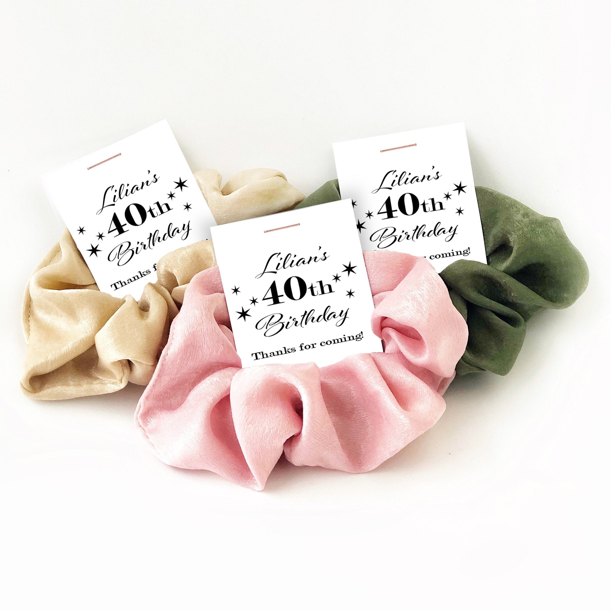 40th Birthday Party Favors, Hair Scrunchies - @PlumPolkaDot