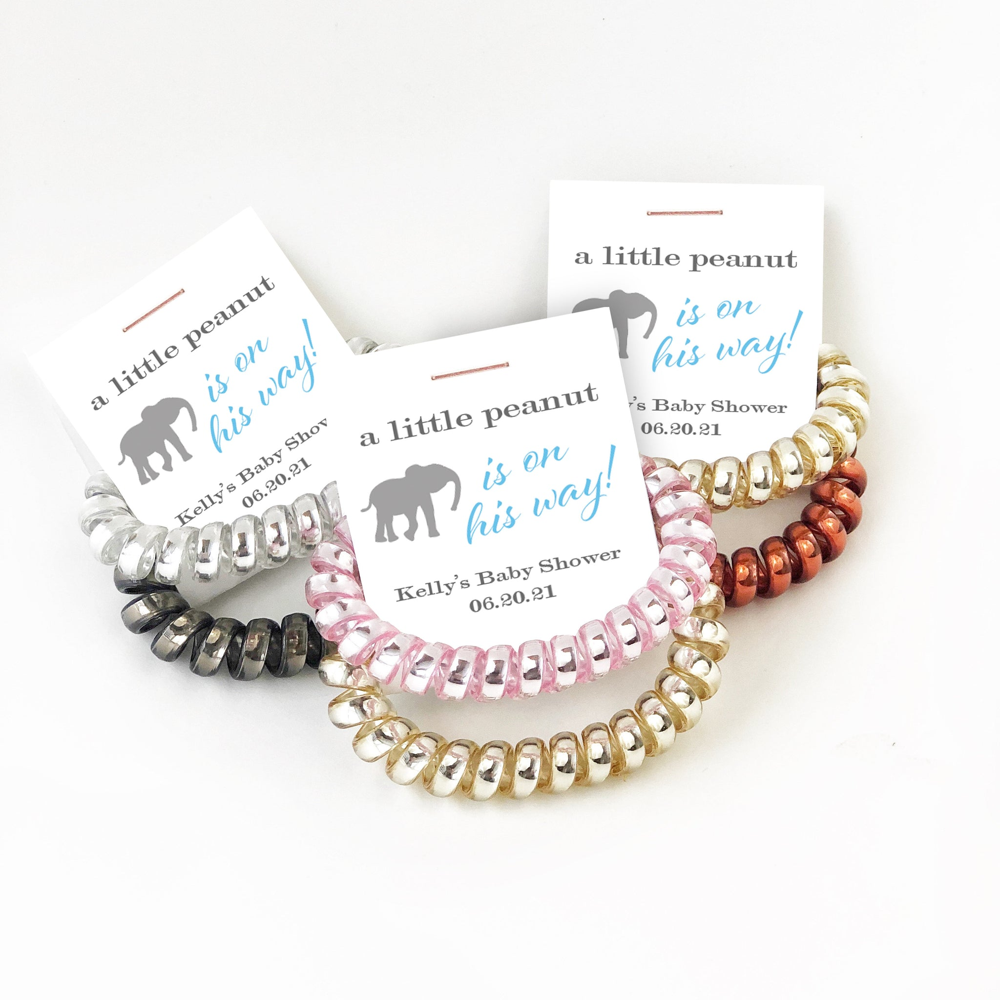 Elephant Baby Shower Favors Boy, Spiral Hair Ties, A Little Peanut is On His Way - @PlumPolkaDot