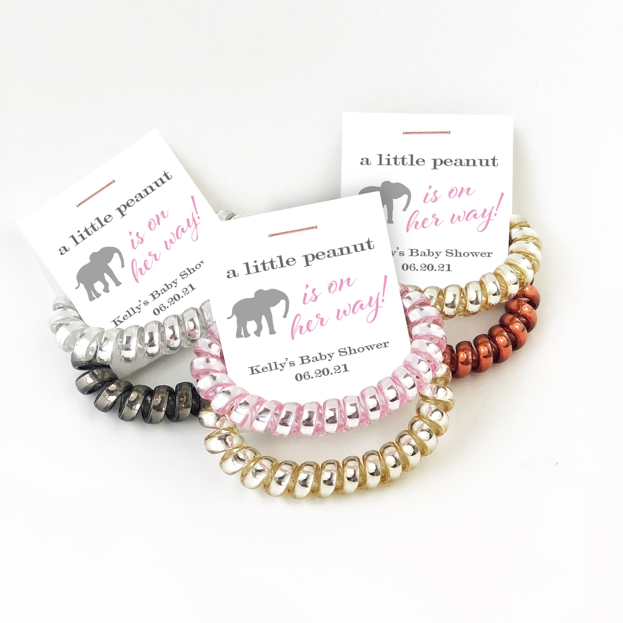 Elephant Baby Shower Favors Girl, Spiral Hair Ties, A Little Peanut is On Her Way - @PlumPolkaDot