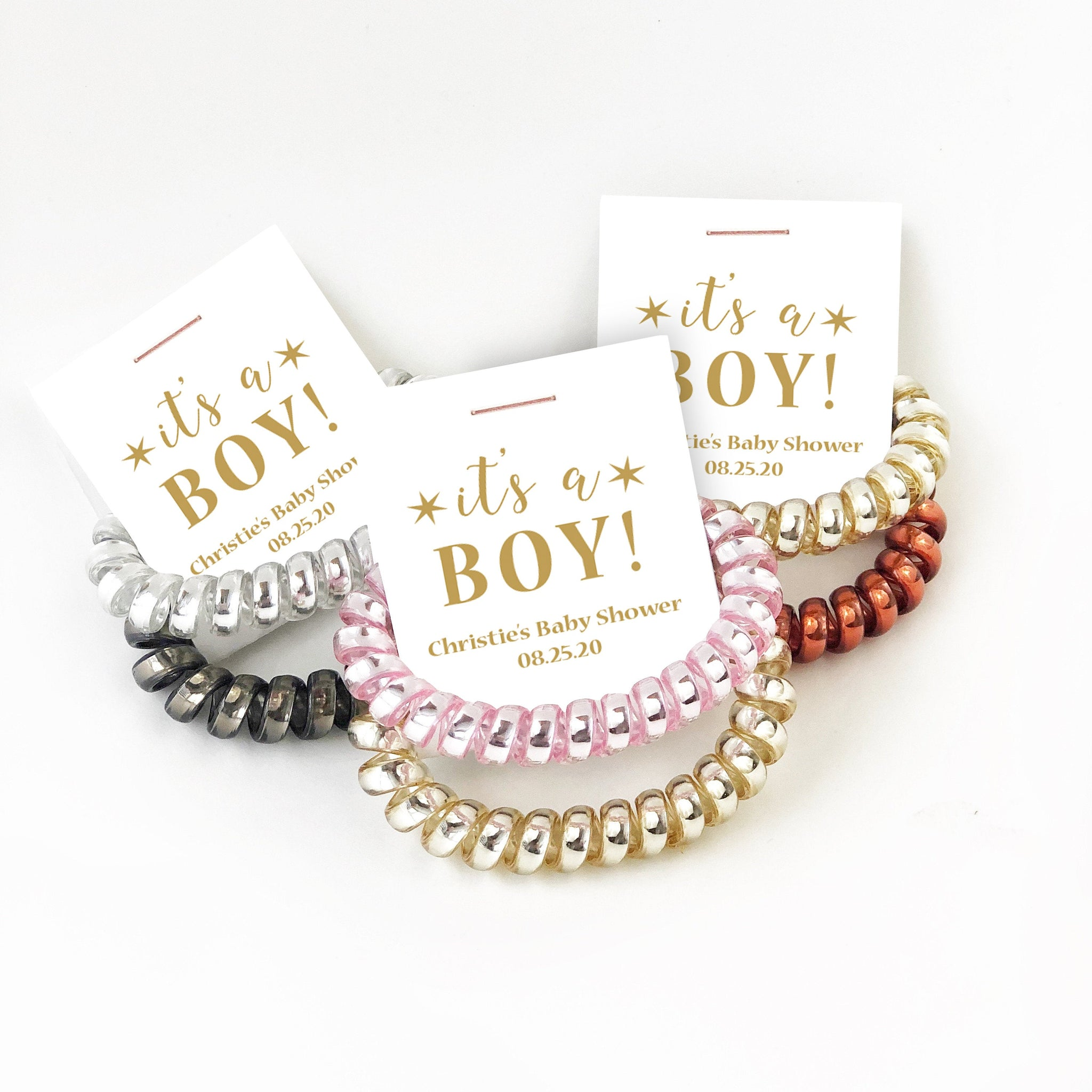 Gold Baby Shower Favors Boy, Spiral Hair Ties - @PlumPolkaDot