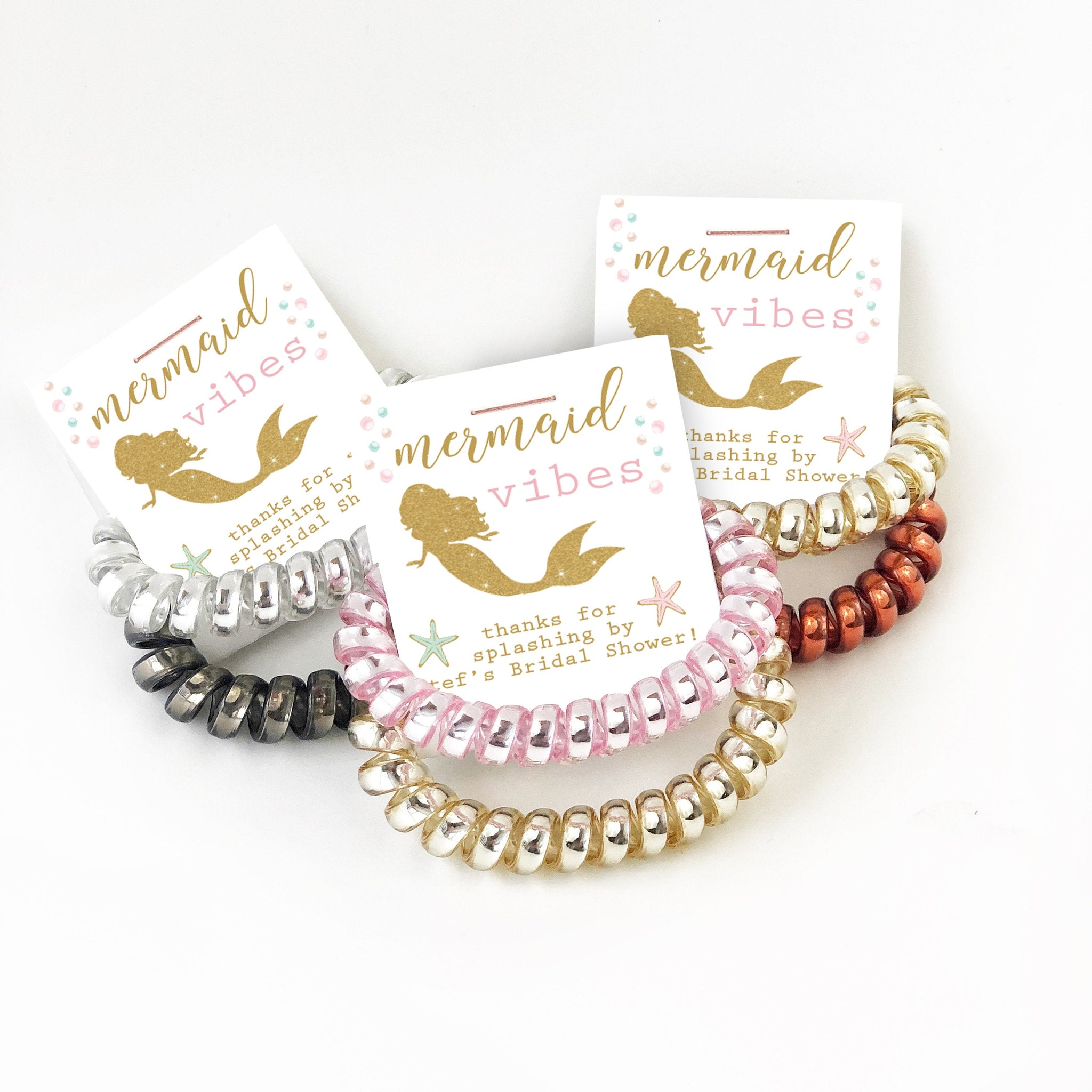 Mermaid Bridal Shower Favors, Mermaid Vibes Spiral Hair Ties - @PlumPolkaDot