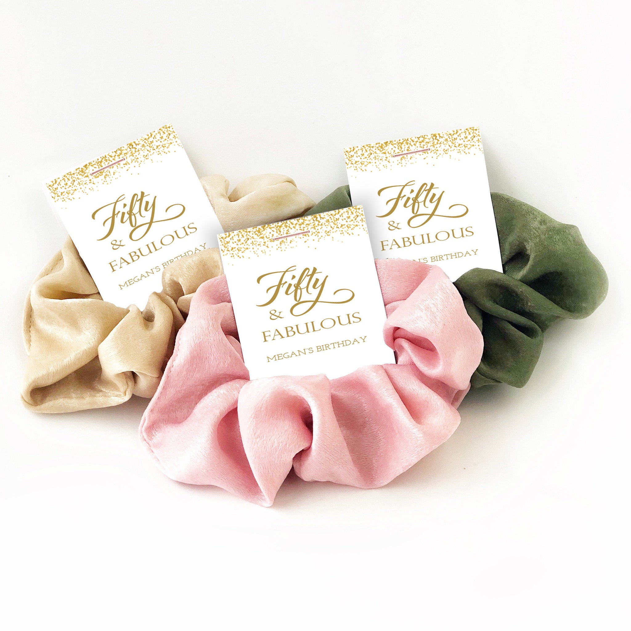 50 and Fabulous, 50th Birthday Party Favors for Women, Hair Scrunchies - @PlumPolkaDot