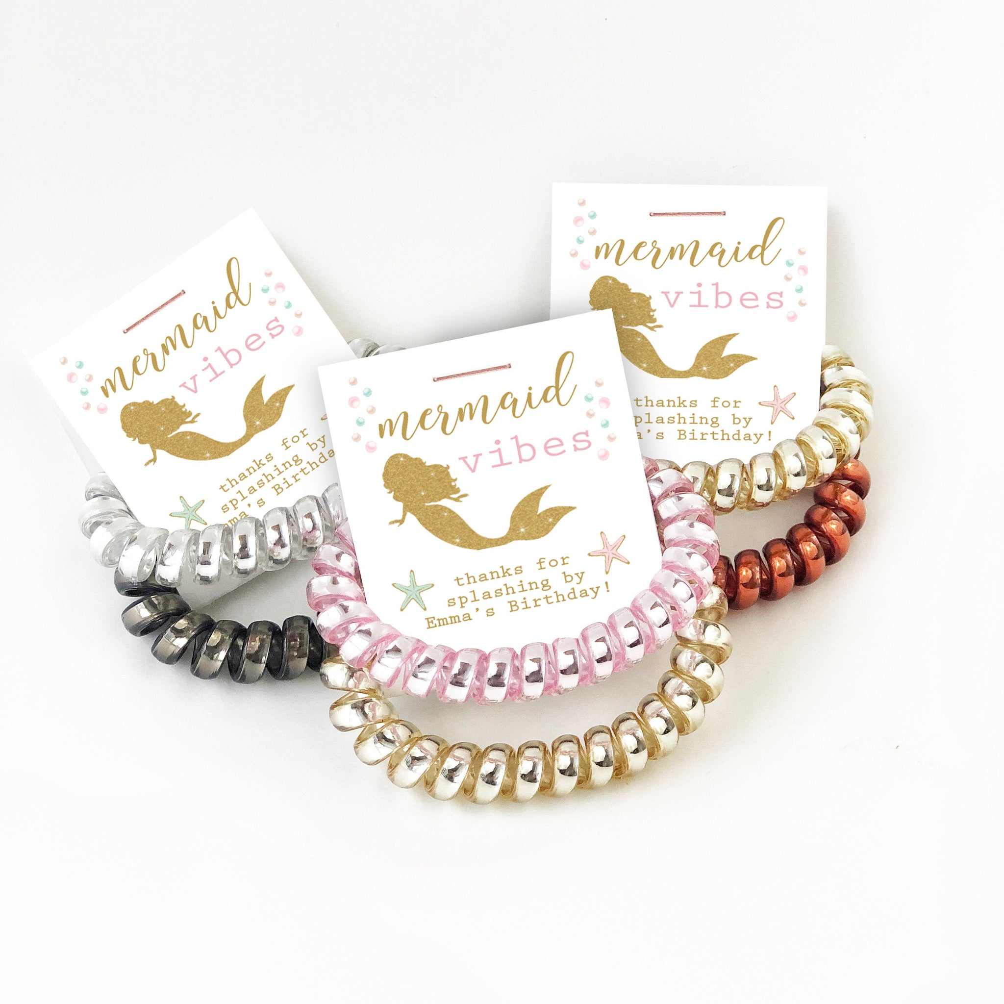 Mermaid Birthday Party Favors, Spiral Hair Ties - @PlumPolkaDot