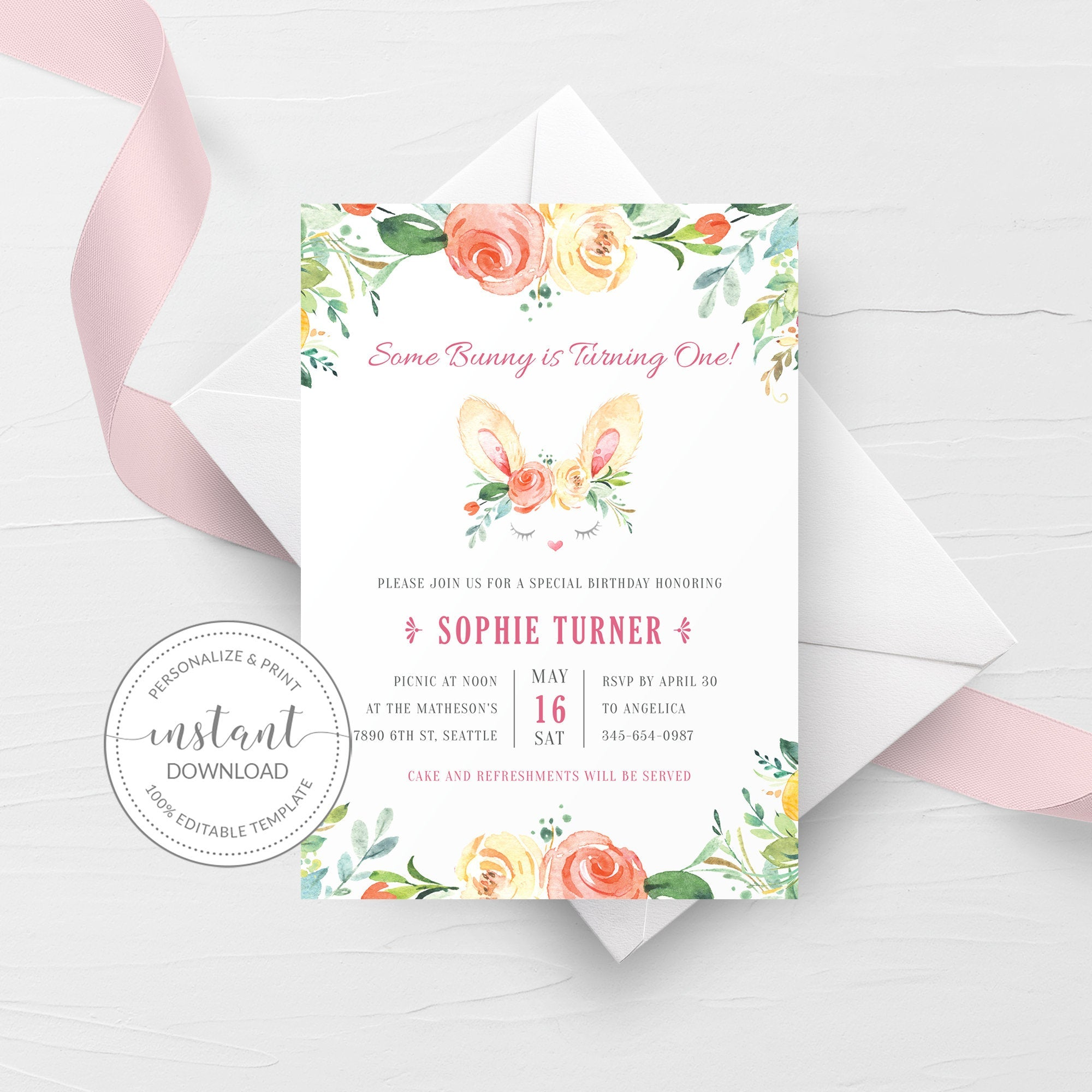 Some Bunny Is One Invitation Template, Bunny 1st Birthday Invitation, Easter Birthday Invitation Printable, DIGITAL DOWNLOAD - B100 - @PlumPolkaDot