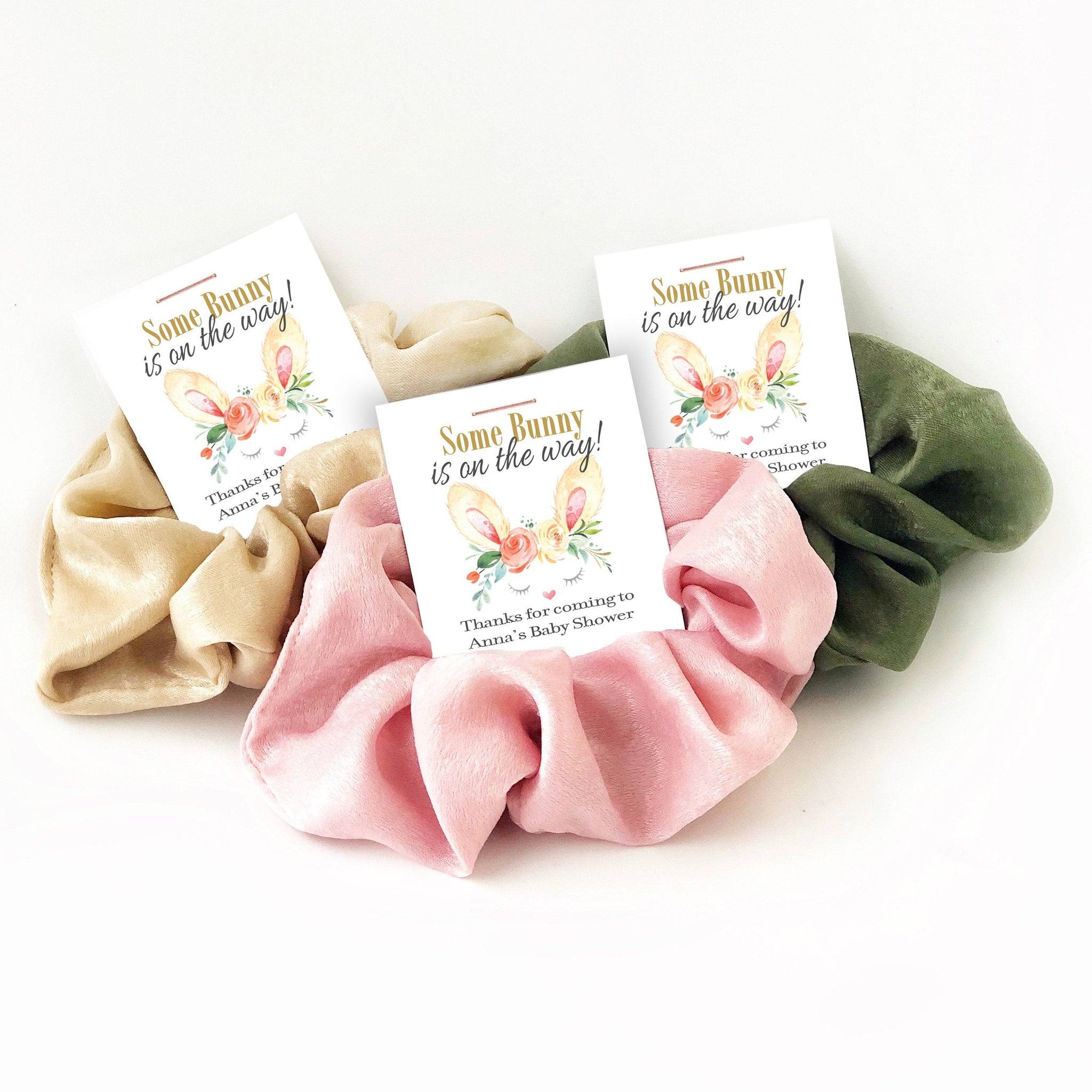Bunny Baby Shower Favors, Hair Scrunchies - B100 - @PlumPolkaDot