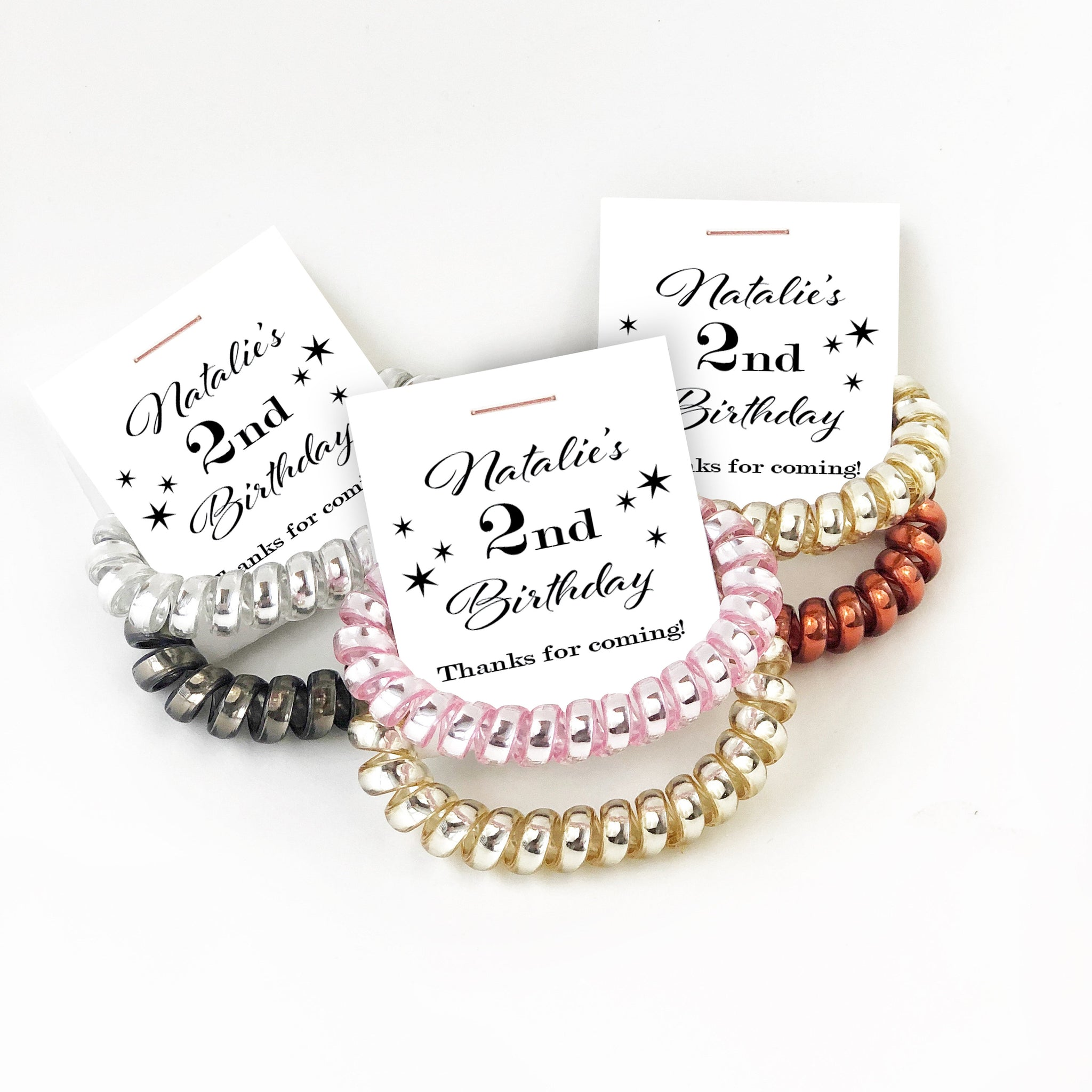 2nd Birthday Party Favors, Spiral Hair Ties - @PlumPolkaDot