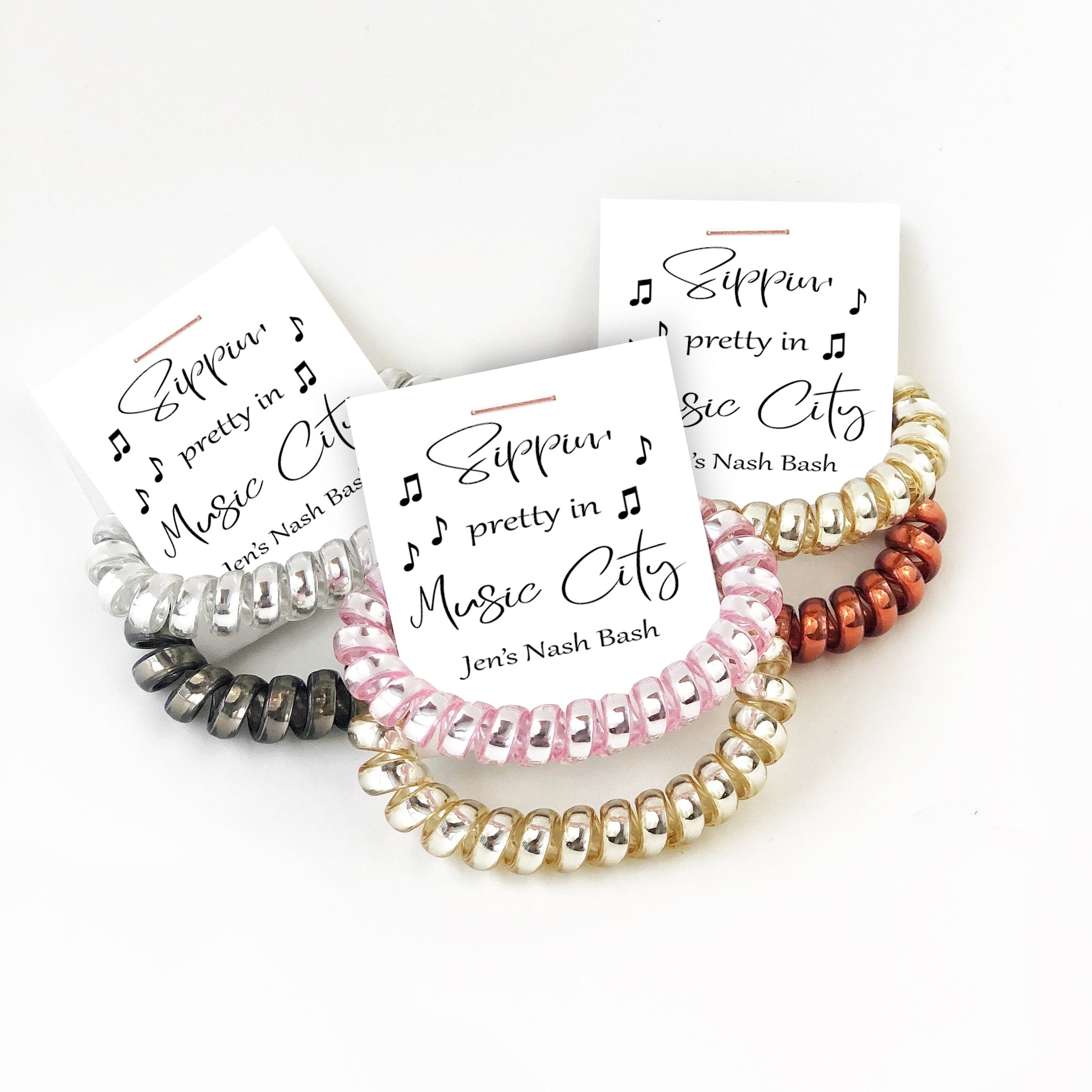 Sippin Pretty in Music City Bachelorette, Spiral Hair Ties, Nashville Bachelorette Party Favors, Nash Bash, Nashville Bach Favors - @PlumPolkaDot