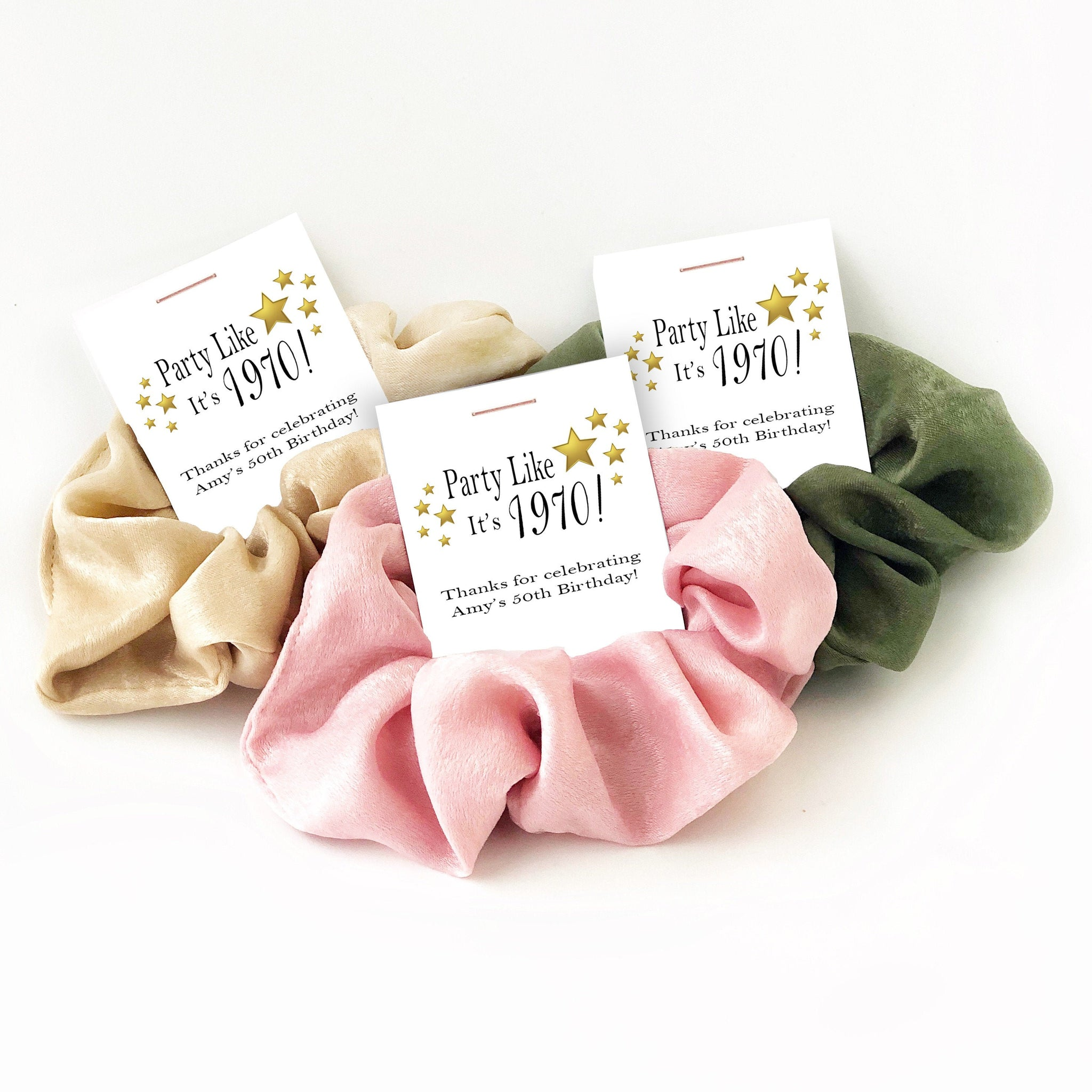 50th Birthday Party Favors, Hair Scrunchies - @PlumPolkaDot