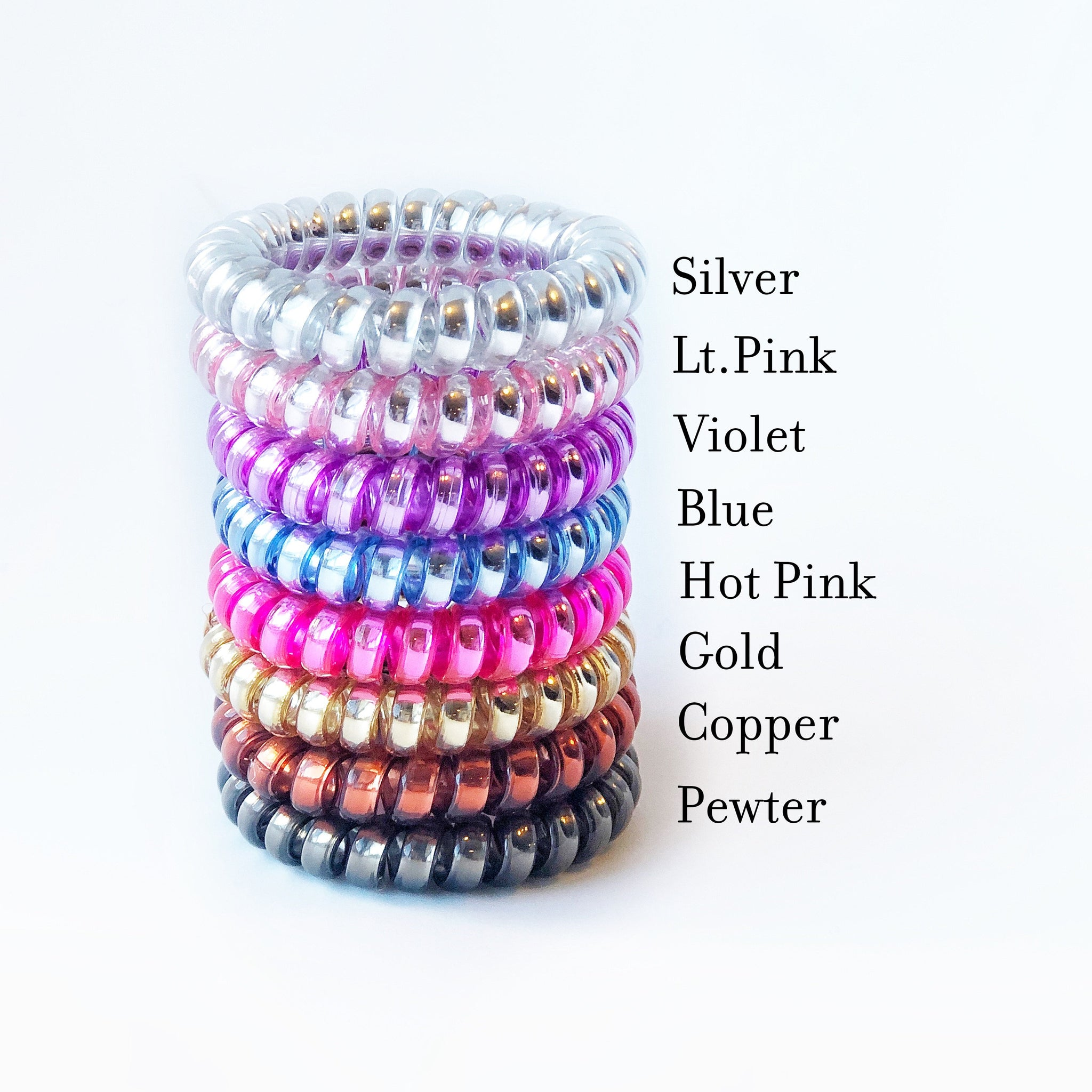 7th Birthday Party Favors, Spiral Hair Ties - @PlumPolkaDot