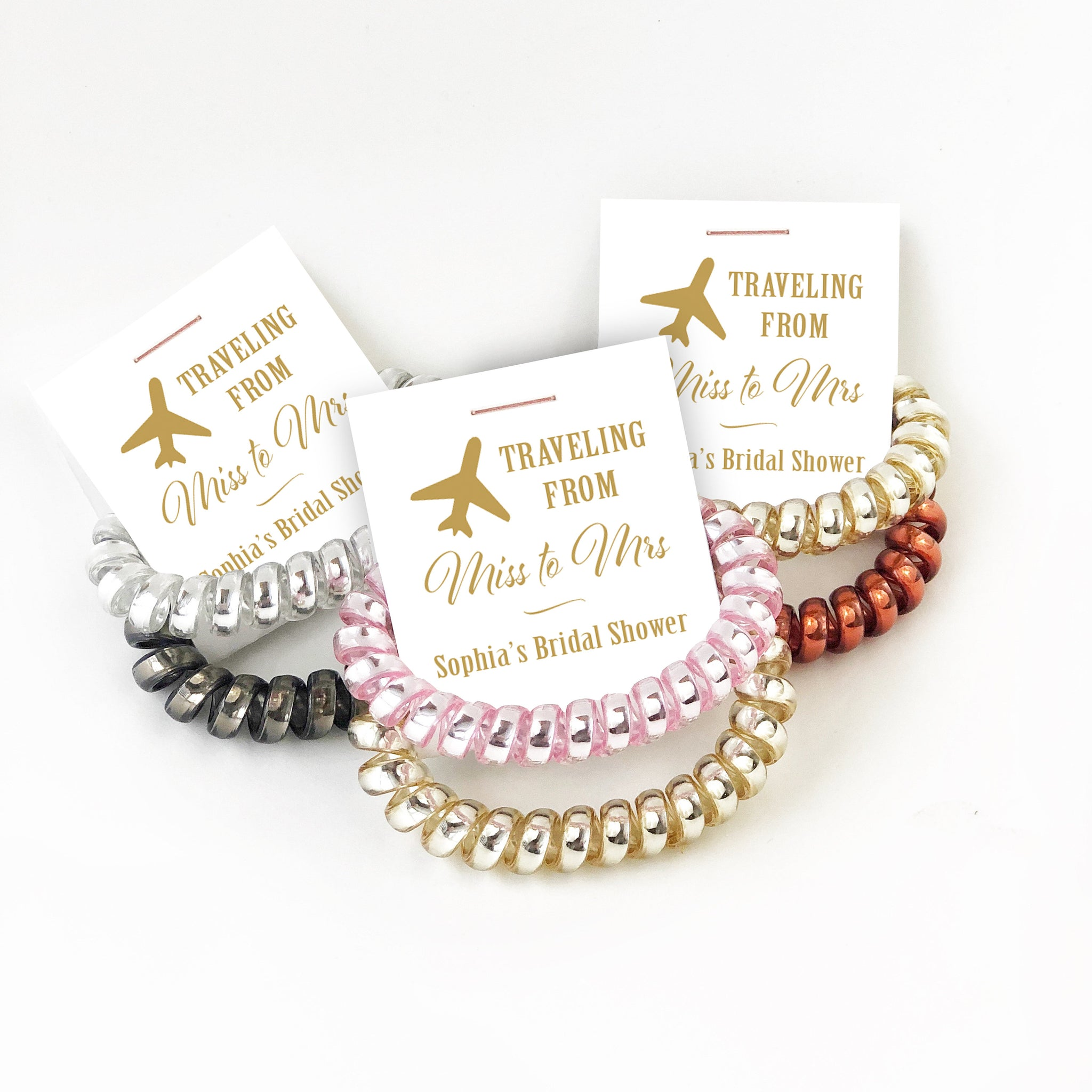 Traveling From Miss to Mrs Bridal Shower Favors, Telephone Cord Spiral Hair Ties, Travel Bridal Shower, Travelling From Miss to Mrs - @PlumPolkaDot