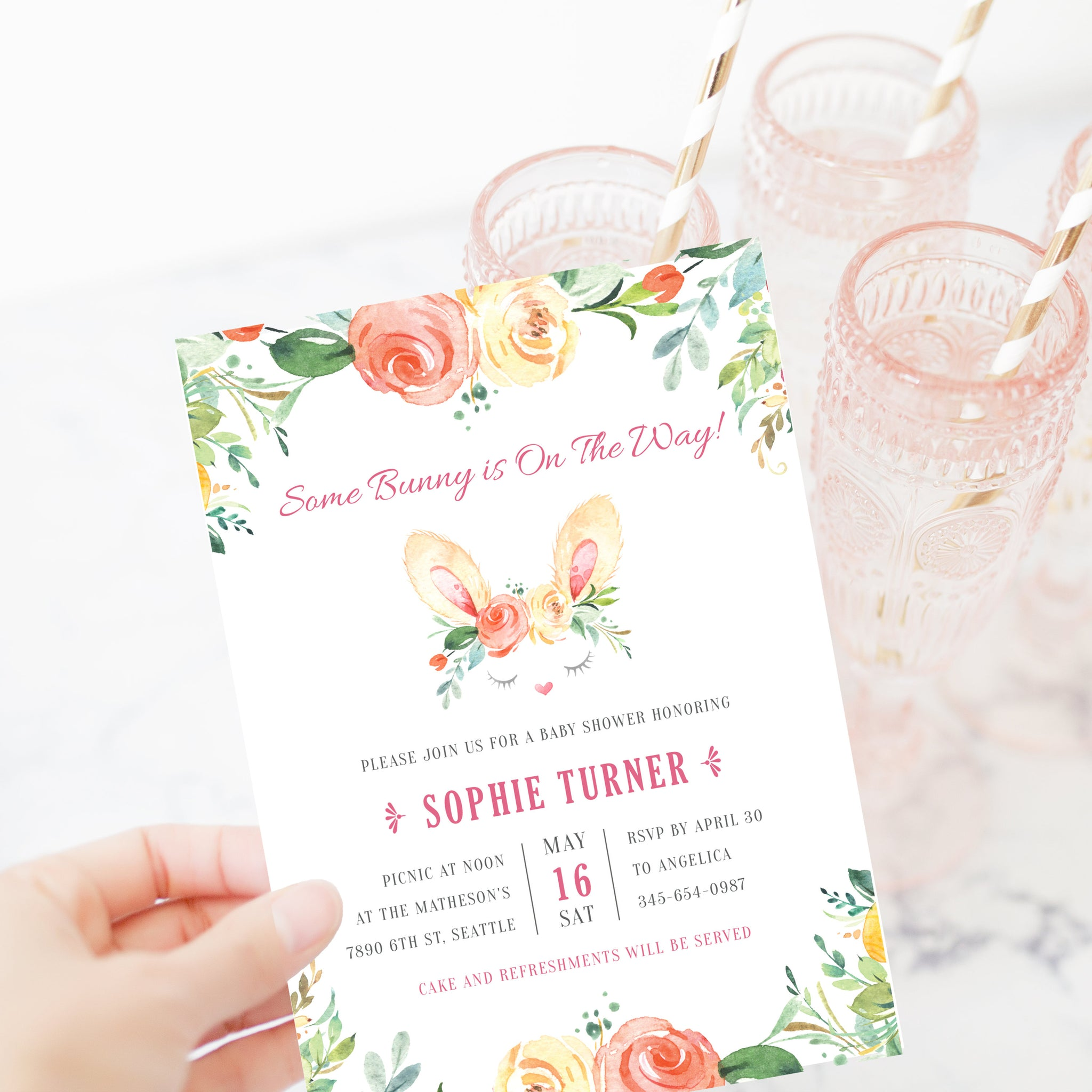 Bunny Baby Shower Invitation Template, Some Bunny Is On The Way Invitation, Easter Baby Shower Printable, DIGITAL DOWNLOAD - B100 - @PlumPolkaDot