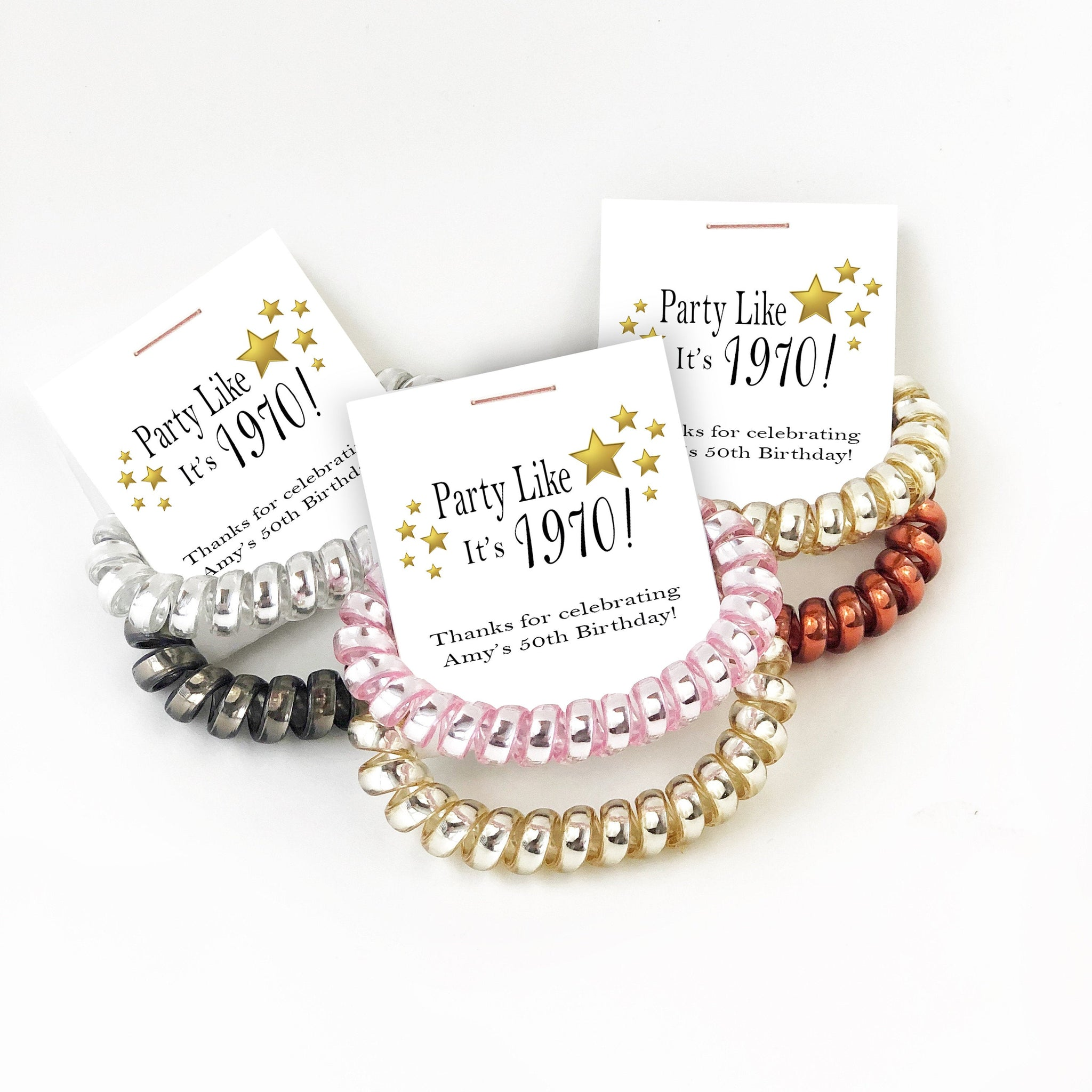 50th Birthday Party Favors, Spiral Hair Ties - @PlumPolkaDot