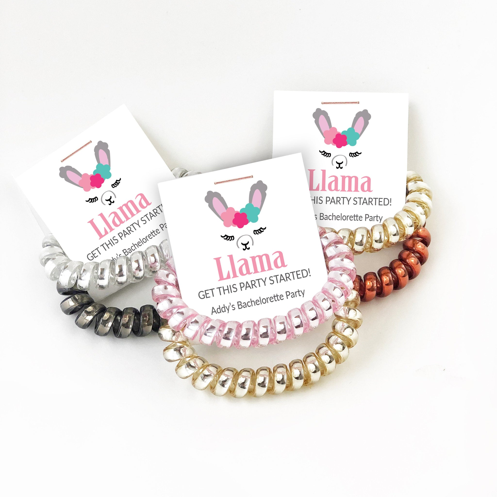 Llama Bachelorette Party Favors, Spiral Hair Ties - @PlumPolkaDot