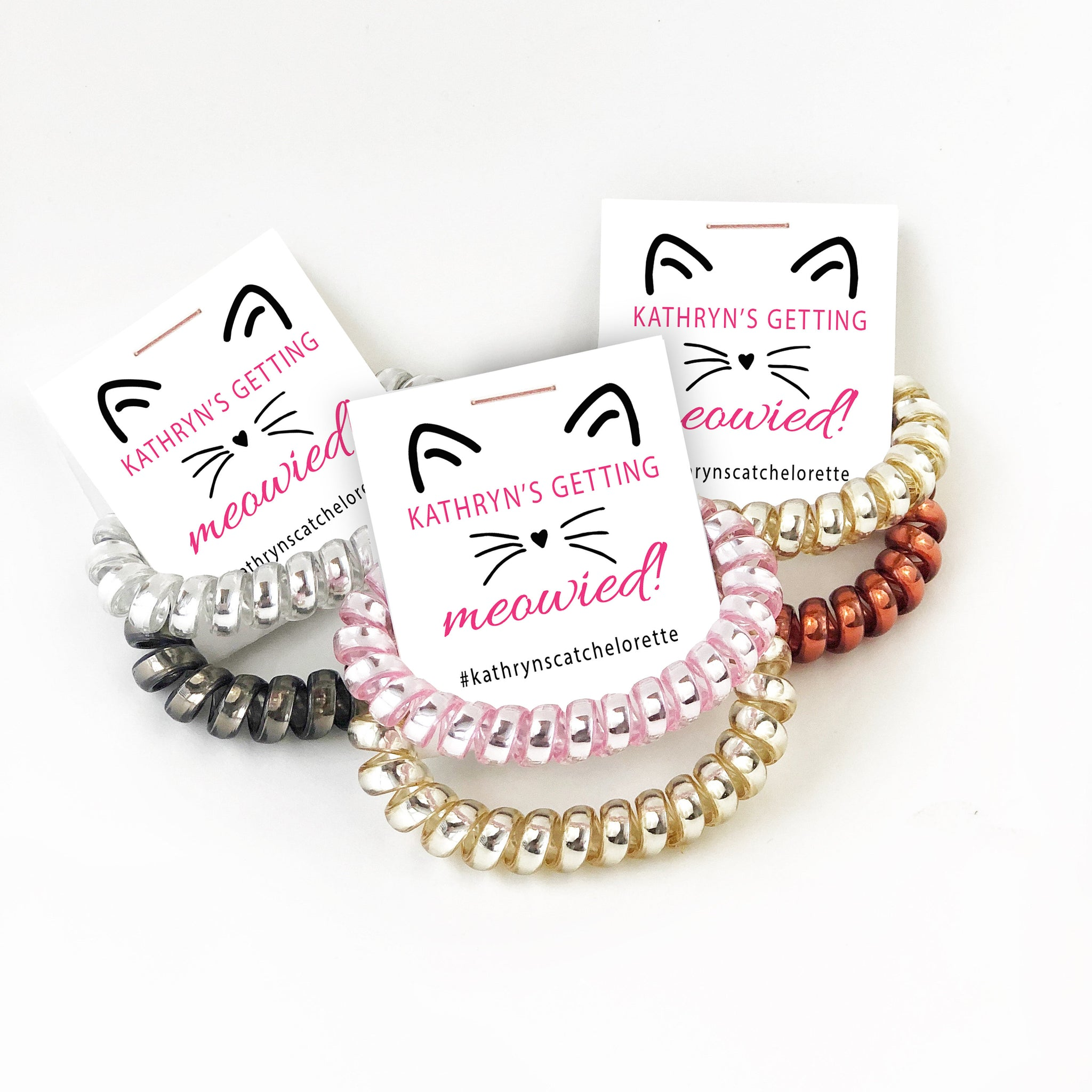 Cat Bachelorette Party Favors, Spiral Hair Tie Favors, Getting Meowied Bachelorette - @PlumPolkaDot