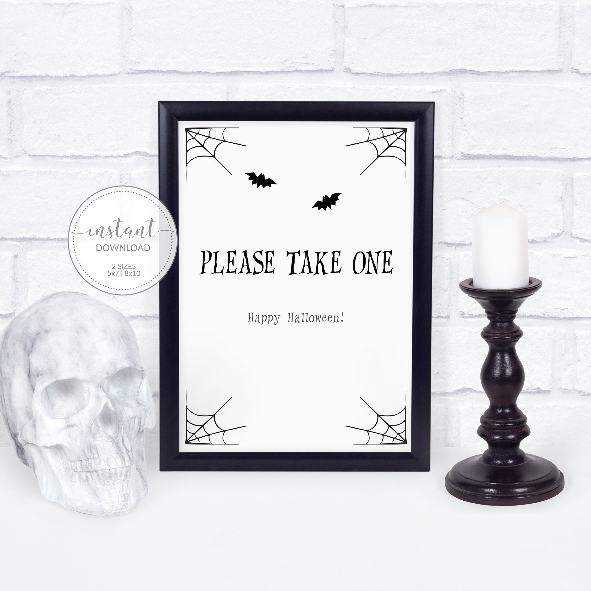 Halloween Please Take One Sign Printable, Trick or Treat Sign, Halloween Porch Sign, Halloween Candy Sign, INSTANT DOWNLOAD - EDS100