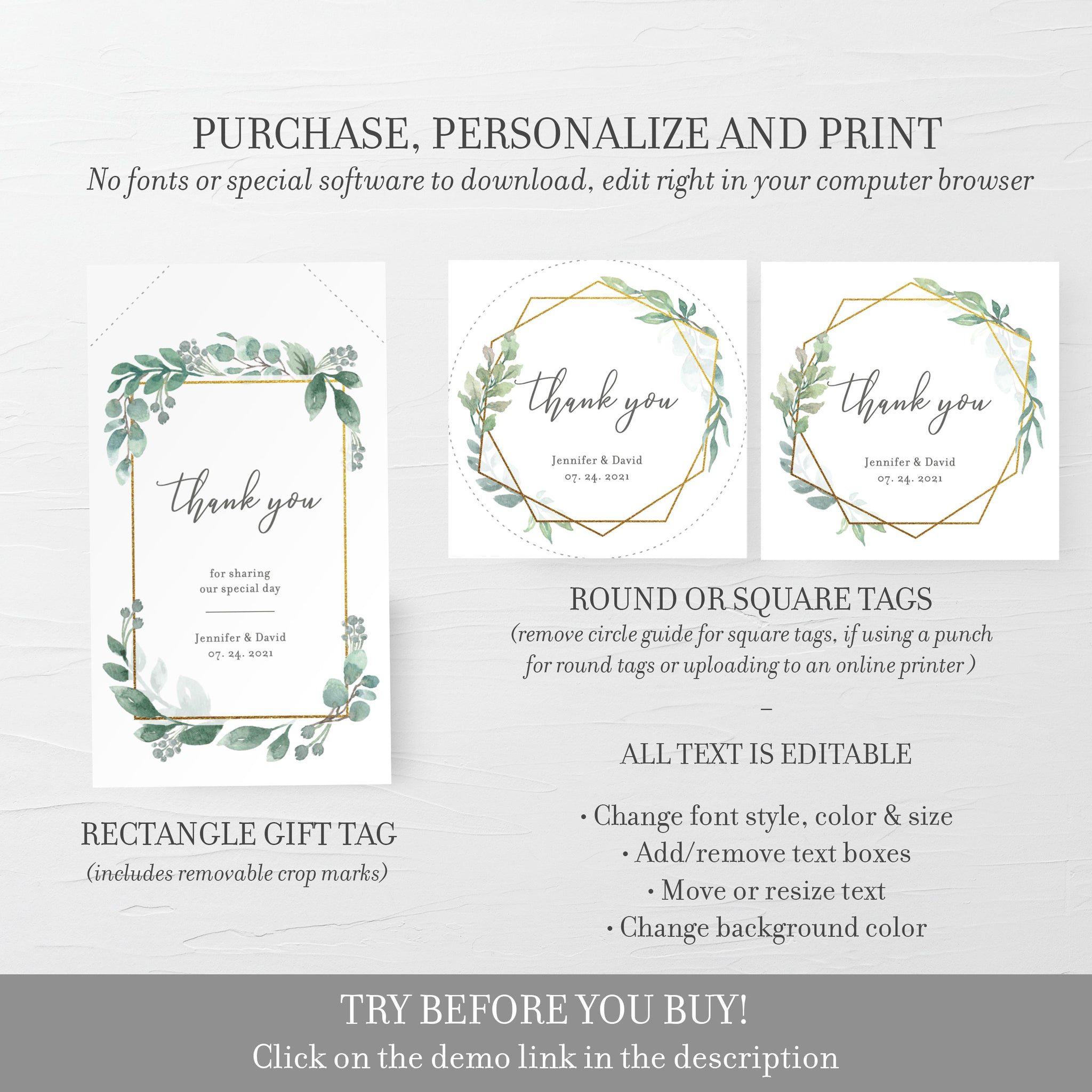 Printable Wedding Stickers Template, Greenery Wedding, Thank You Stickers Wedding, Personalised Stickers Wedding, DIGITAL DOWNLOAD GFG100